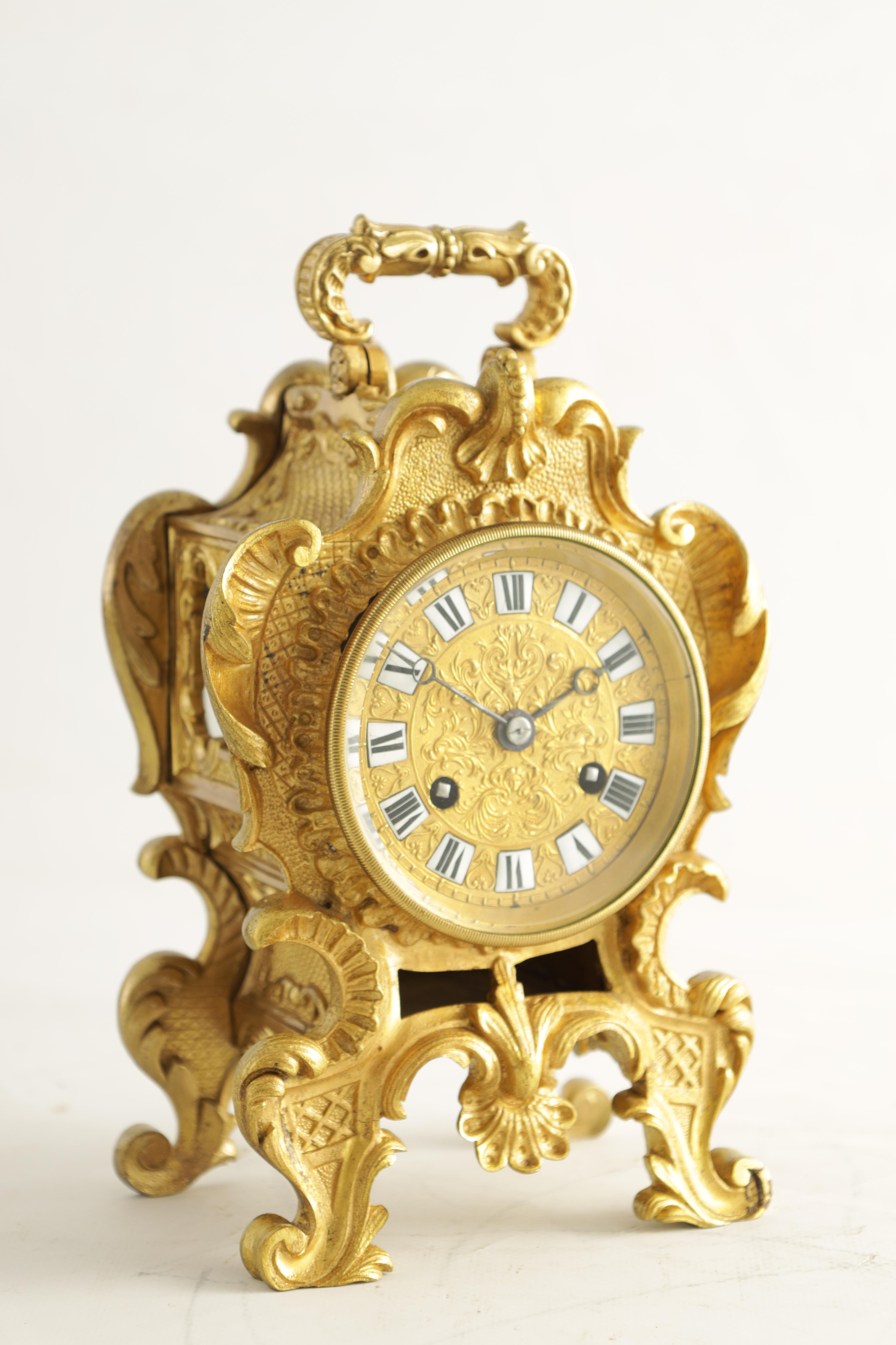 PAUL GARNIER, PARIS A MID 19TH CENTURY FRENCH TRAVELLING MANTEL CLOCK the gilt bronze rococo style - Image 7 of 13
