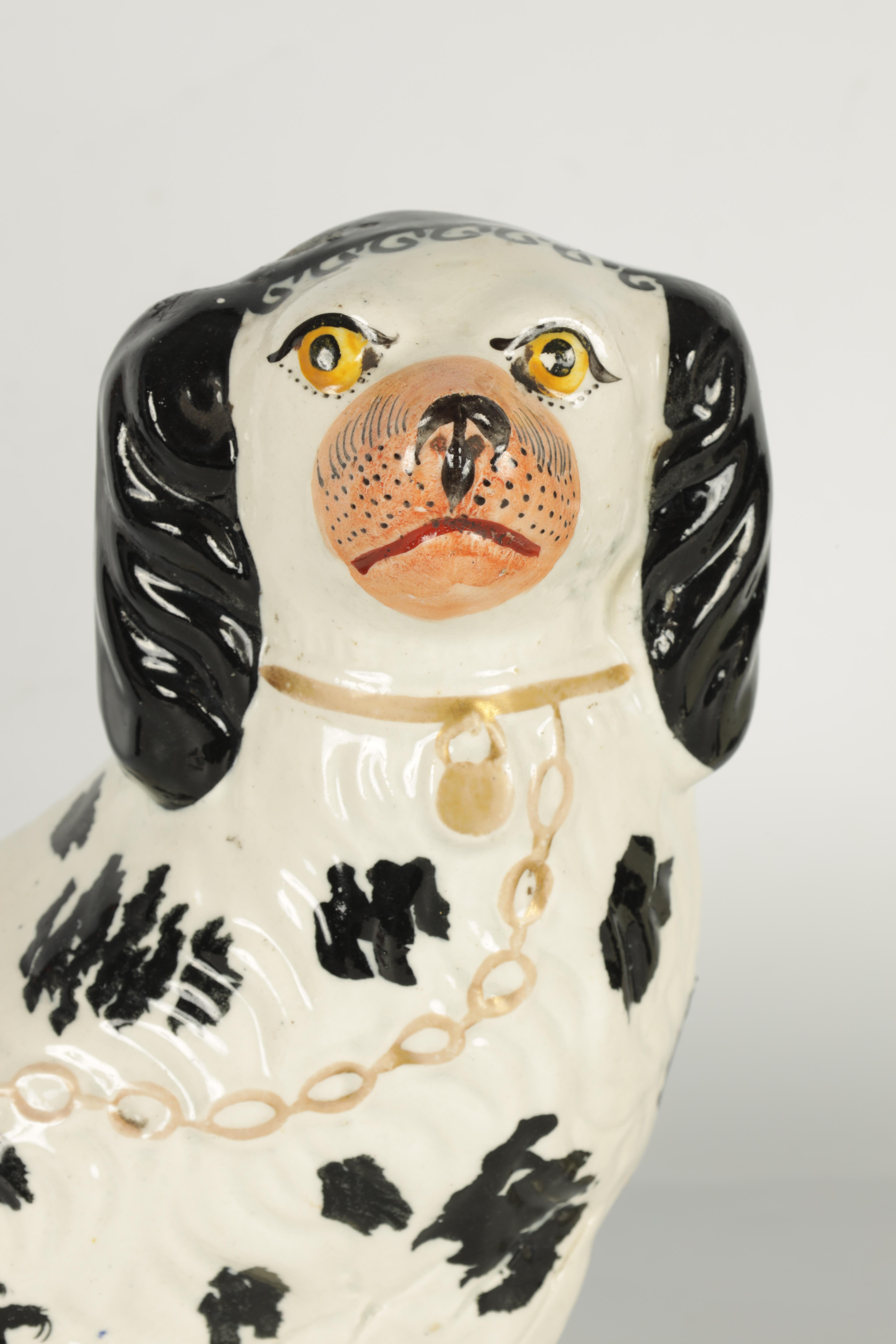 A PAIR OF 19TH CENTURY STAFFORDSHIRE 'DISRAELI CURL' SPANIELS 23cm high - Image 4 of 11