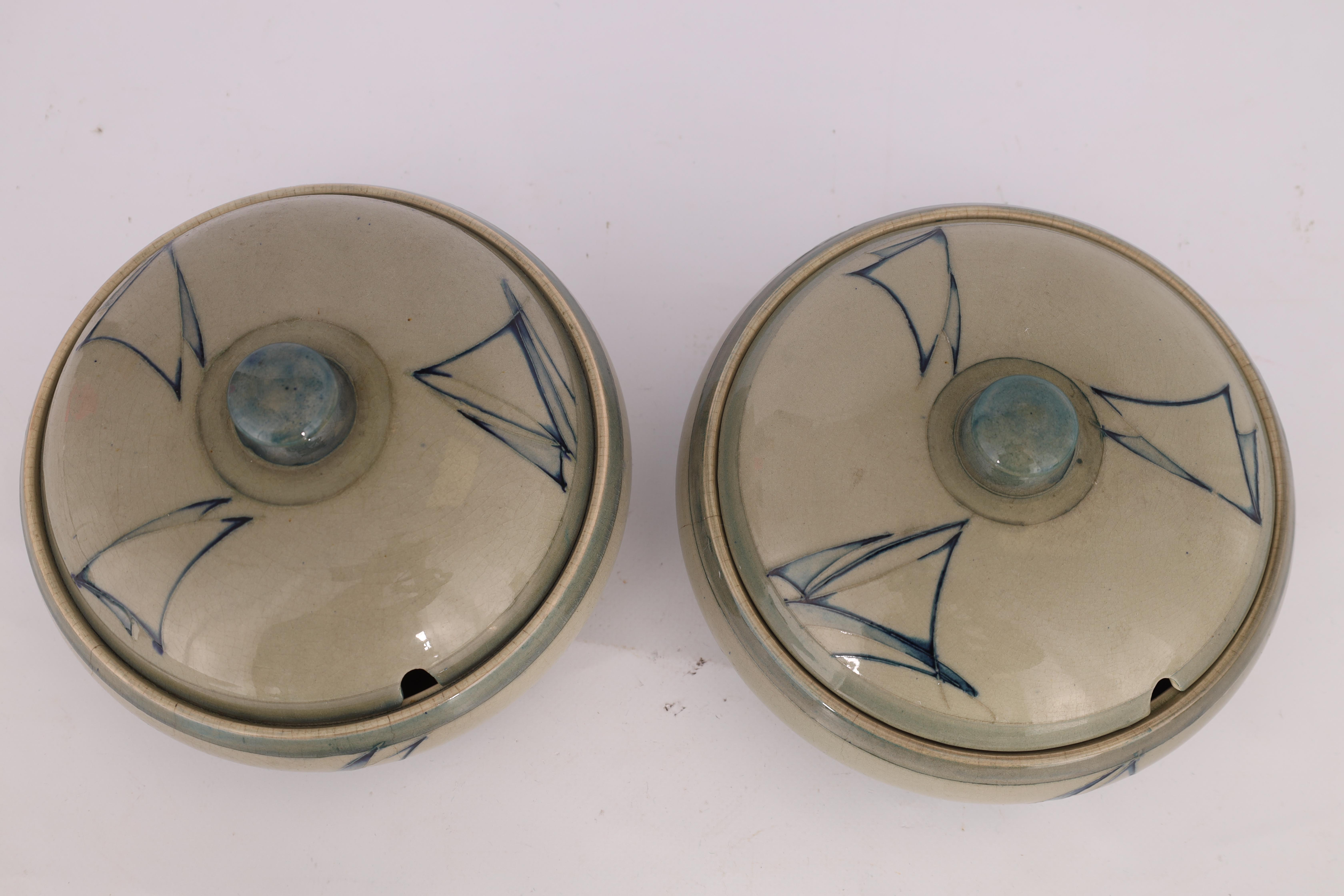 A PAIR OF MOORCROFT LIDDED TABLE TUREENS decorated in the Yacht pattern on a celadon ground, 19. - Image 12 of 12