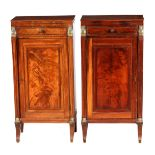 A PAIR OF REGENCY MAHOGANY EGYPTIAN STYLE SIDE CABINETS with shaped side columns with brass Sphinx