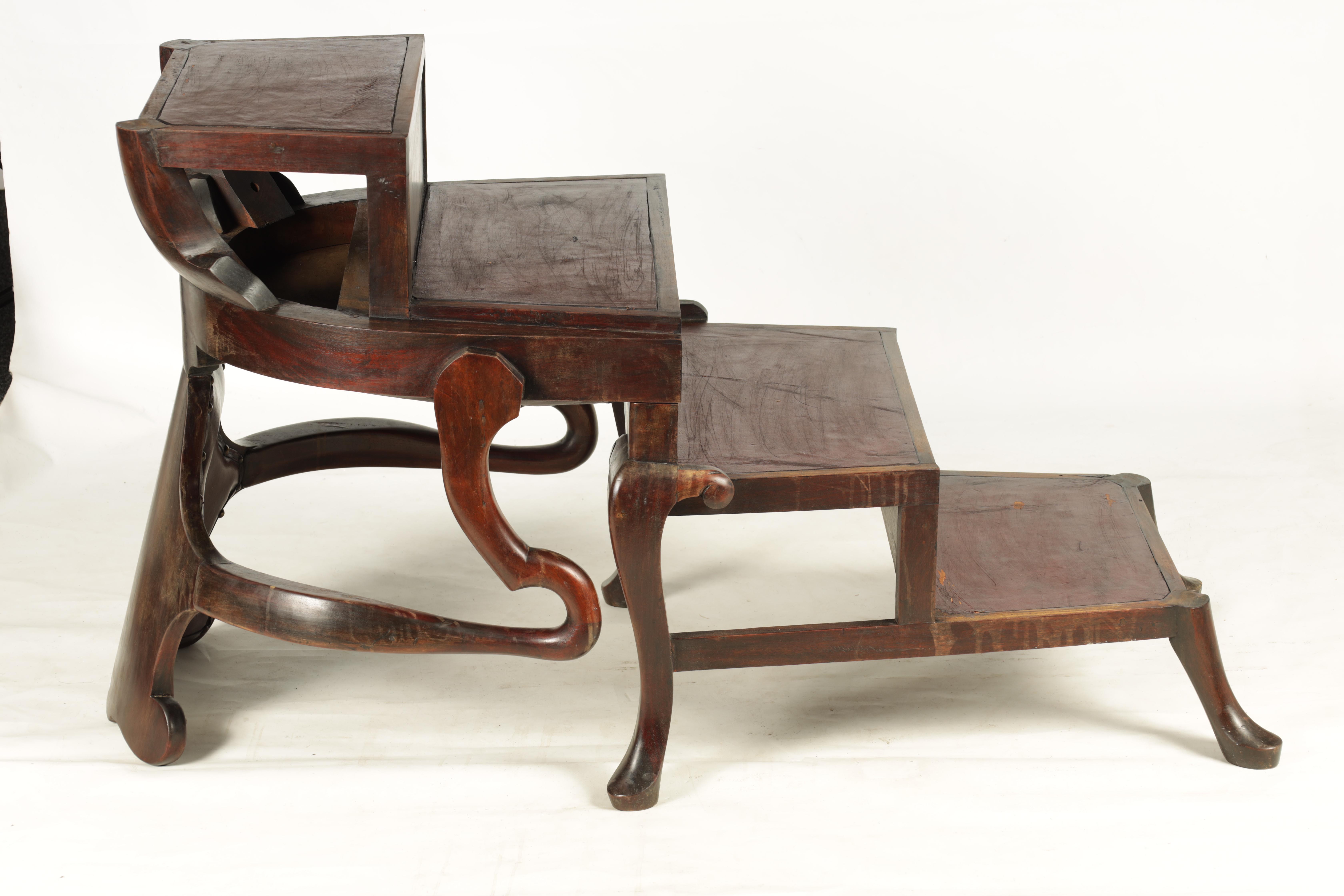 A 19TH CENTURY GEORGE II STYLE METAMORPHIC ARMCHAIR/LIBRARY STEPS with shaped back and crook arms - Image 6 of 8