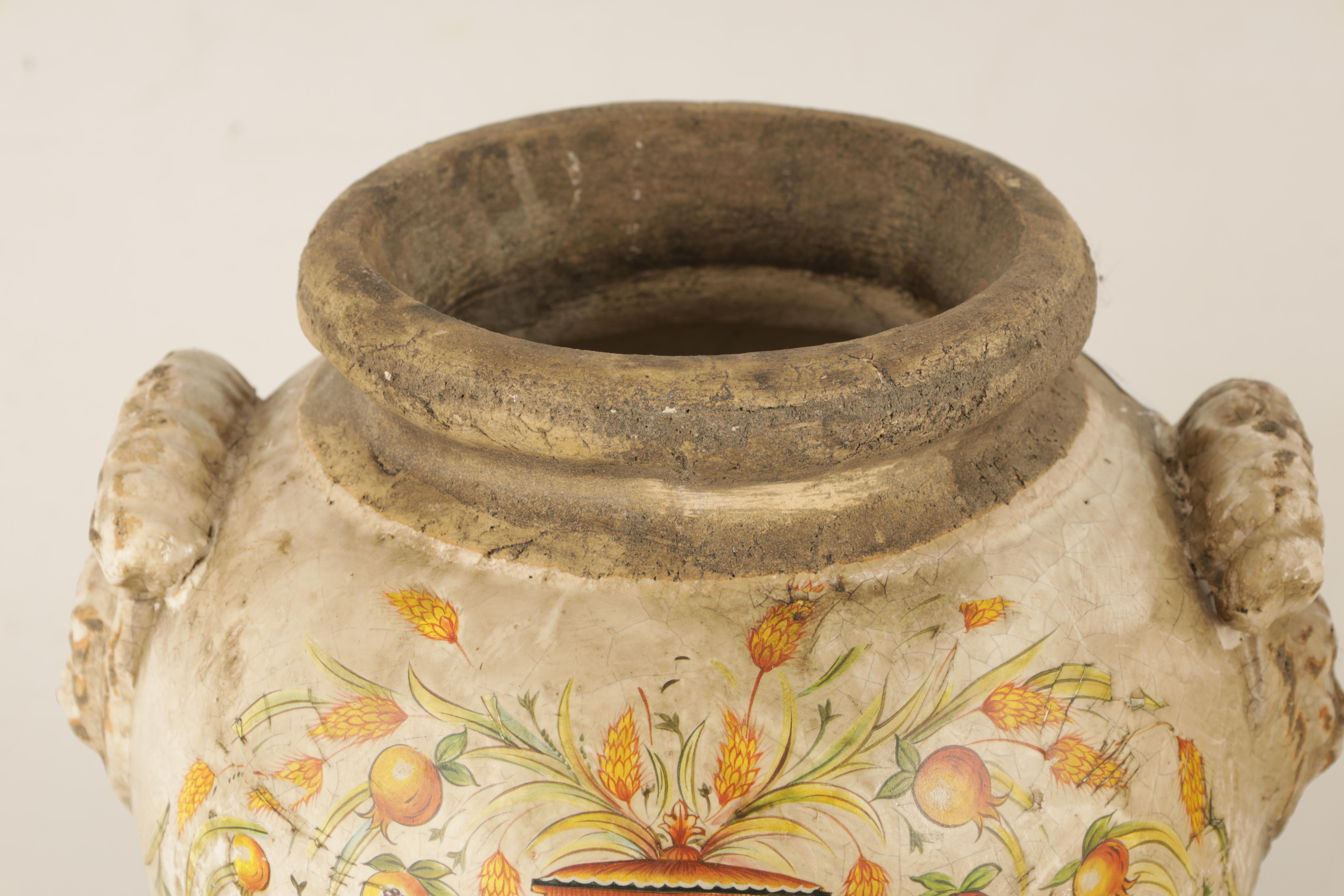 A PAIR OF EARLY ITALIAN EARTHENWARE ARMORIAL VASES with lion mask handles and painted armorials - Image 5 of 8
