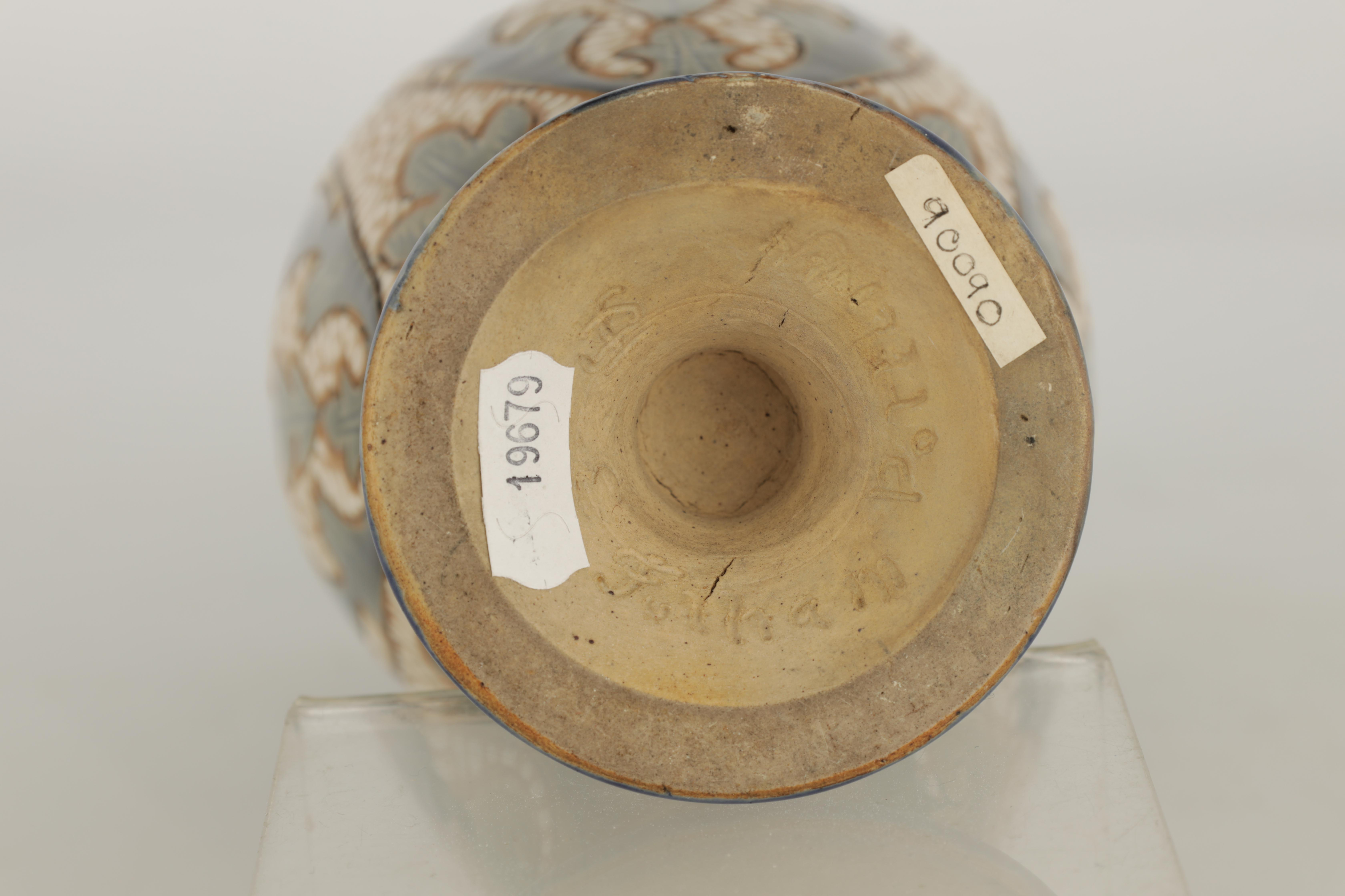AN UNUSUAL LATE 19TH CENTURY FULHAM POTTERY STONEWARE FOOTED OVOID VASE WITH FLARED RIM decorated - Image 6 of 6