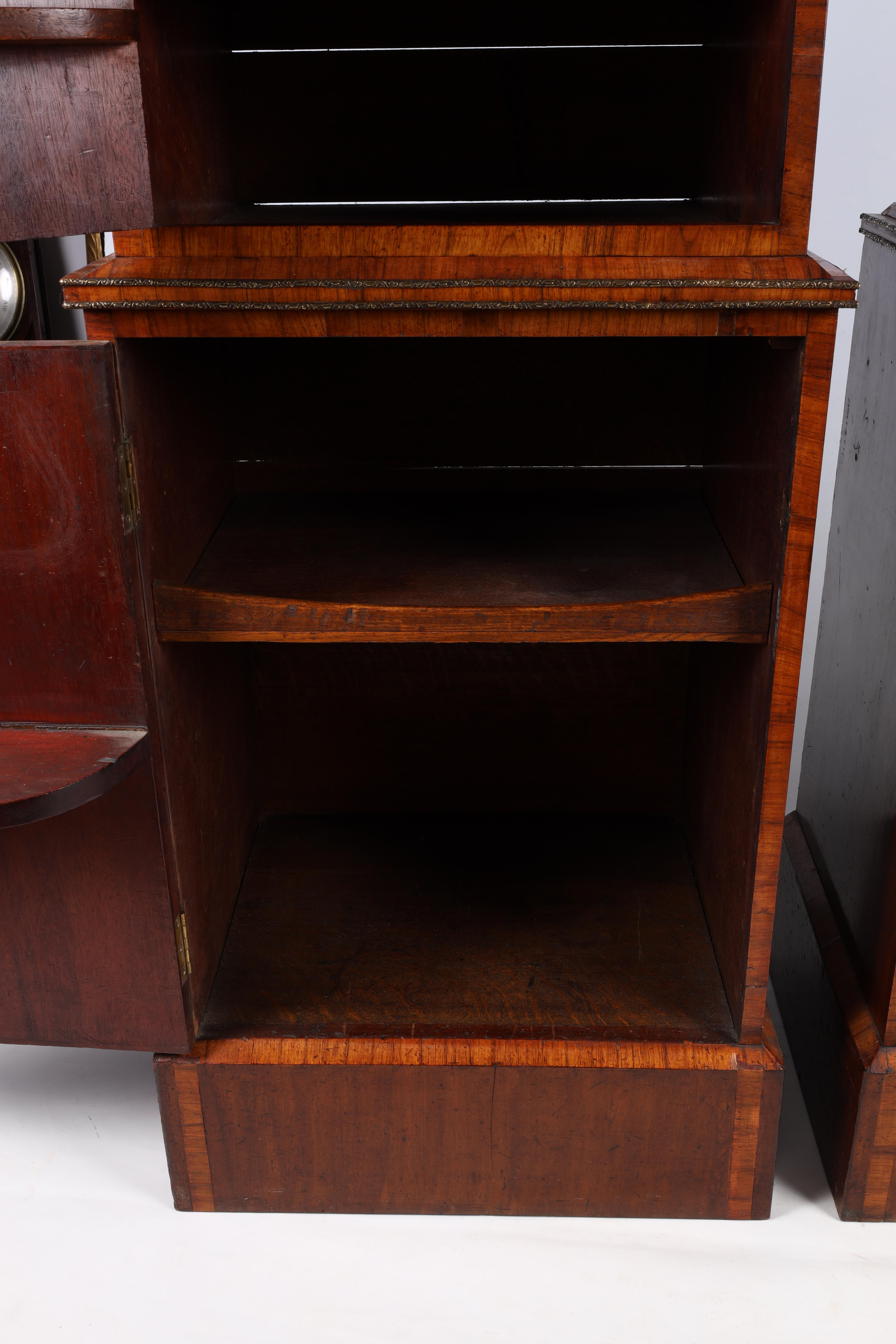 A LARGE PAIR OF GEORGE III KINGWOOD BANDED MAHOGANY PEDESTALS with unusual pen work panels depicting - Image 8 of 11