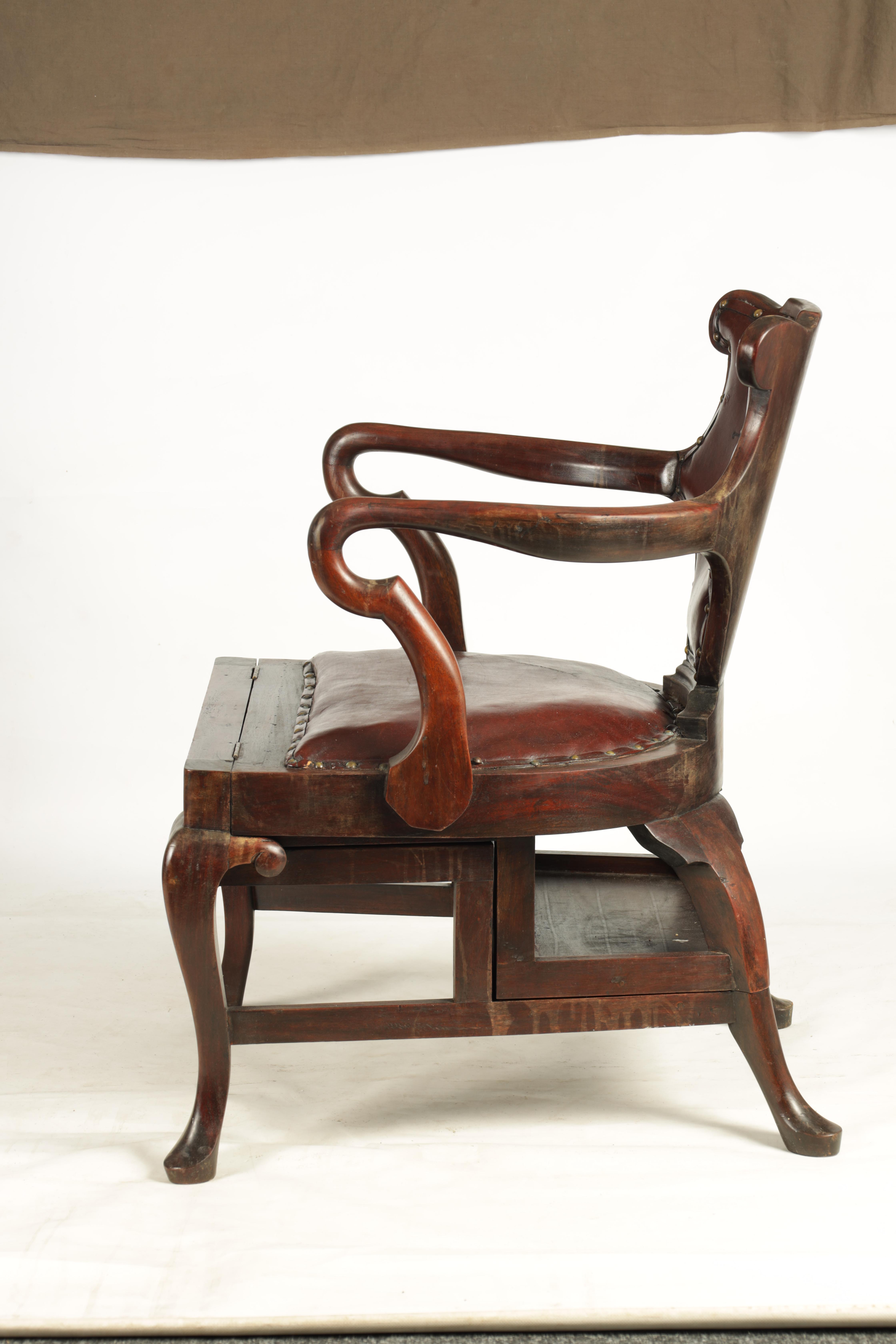 A 19TH CENTURY GEORGE II STYLE METAMORPHIC ARMCHAIR/LIBRARY STEPS with shaped back and crook arms - Image 5 of 8