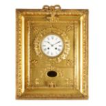 A 19TH CENTURY FRENCH GILT FRAMED STRIKING WALL CLOCK with gilt glazed frame enclosing an egg and