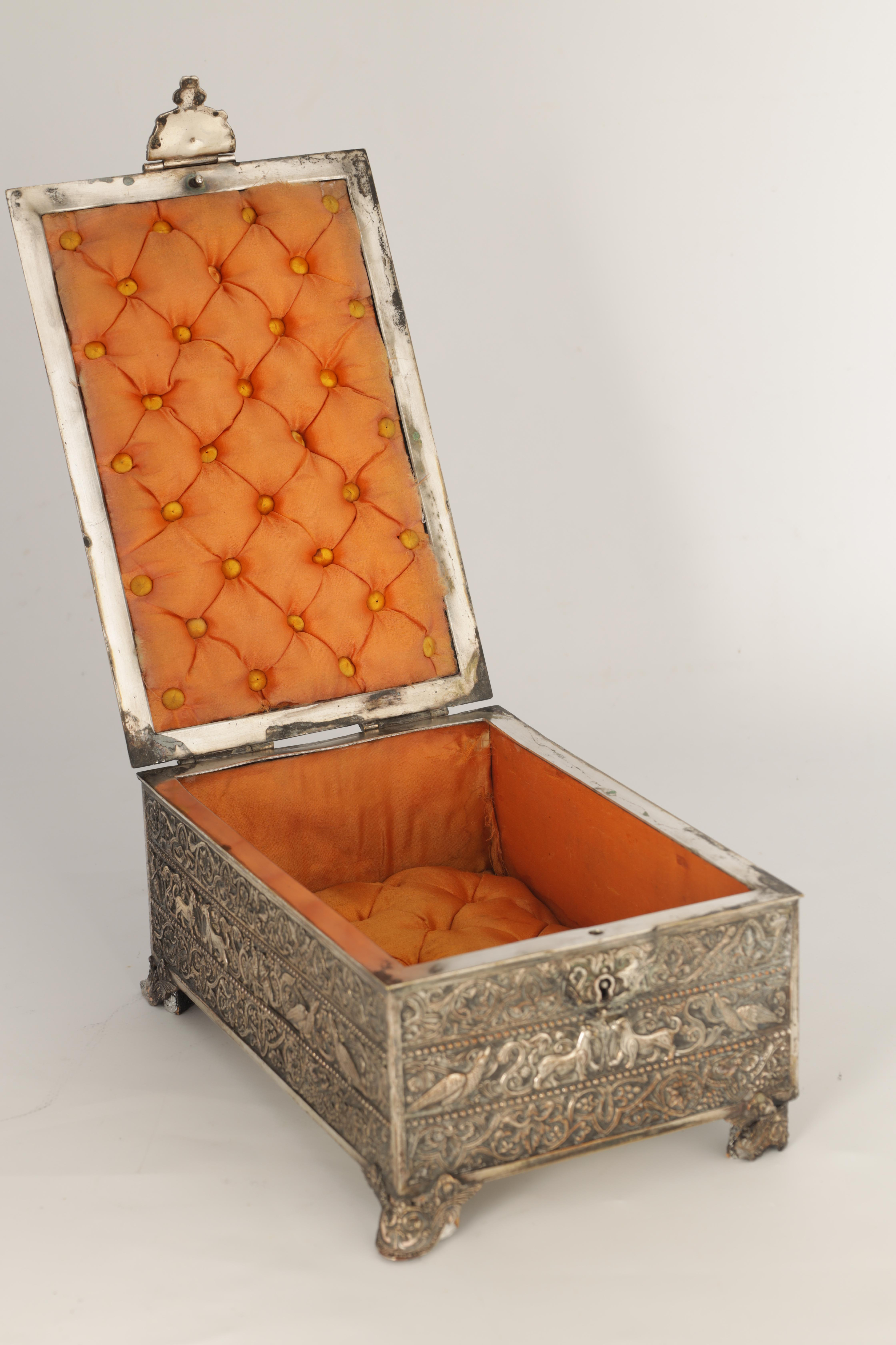 A 19TH CENTURY SILVERED BRONZE JEWELLERY CASKET the lid with intricate relief groups of birds, - Image 4 of 12