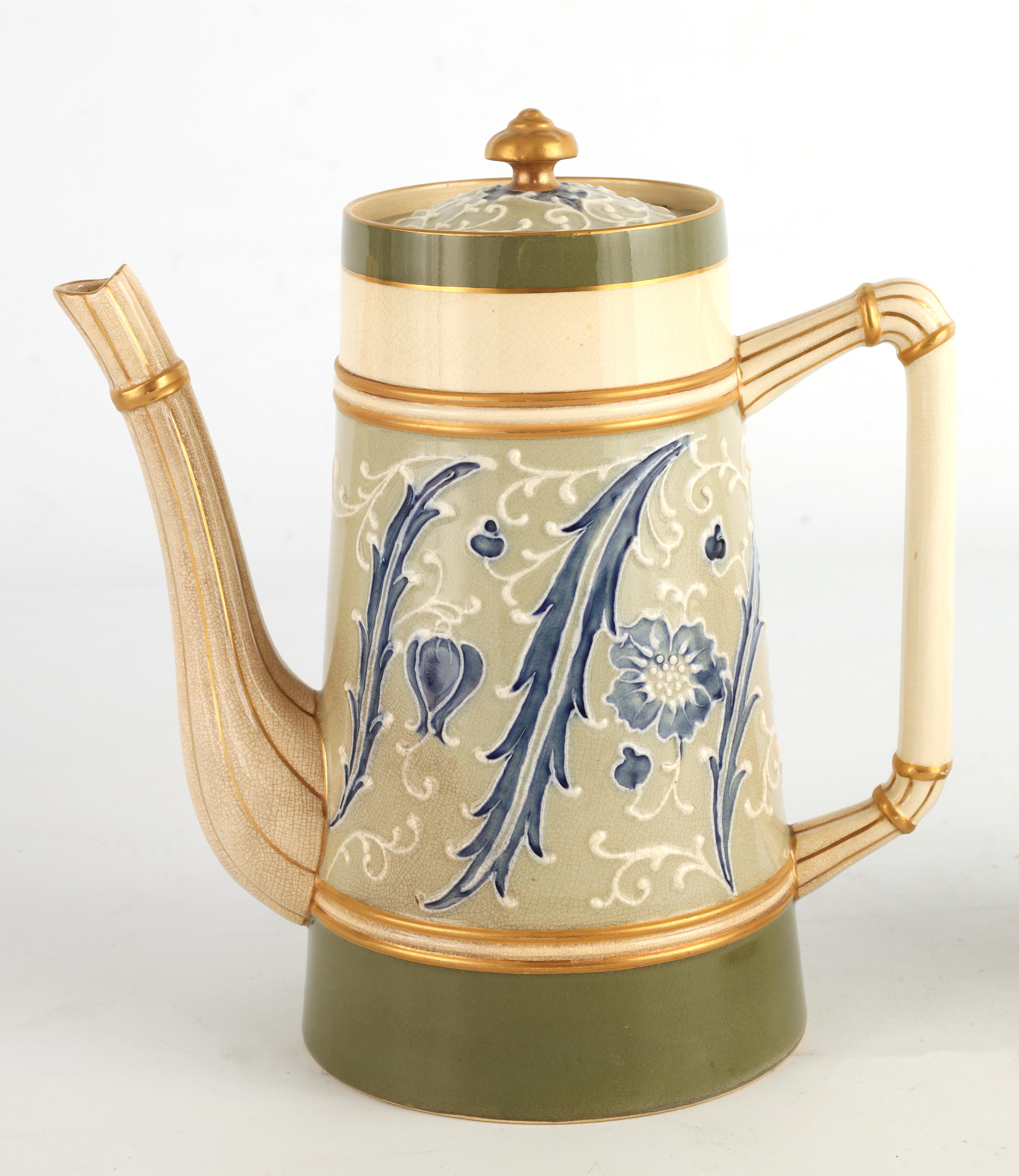 AN EARLY MACINTYRE BURSLEM TAPERING COFFEE POT AND MATCHING TEAPOT decorated in the Sicilian - Image 4 of 10
