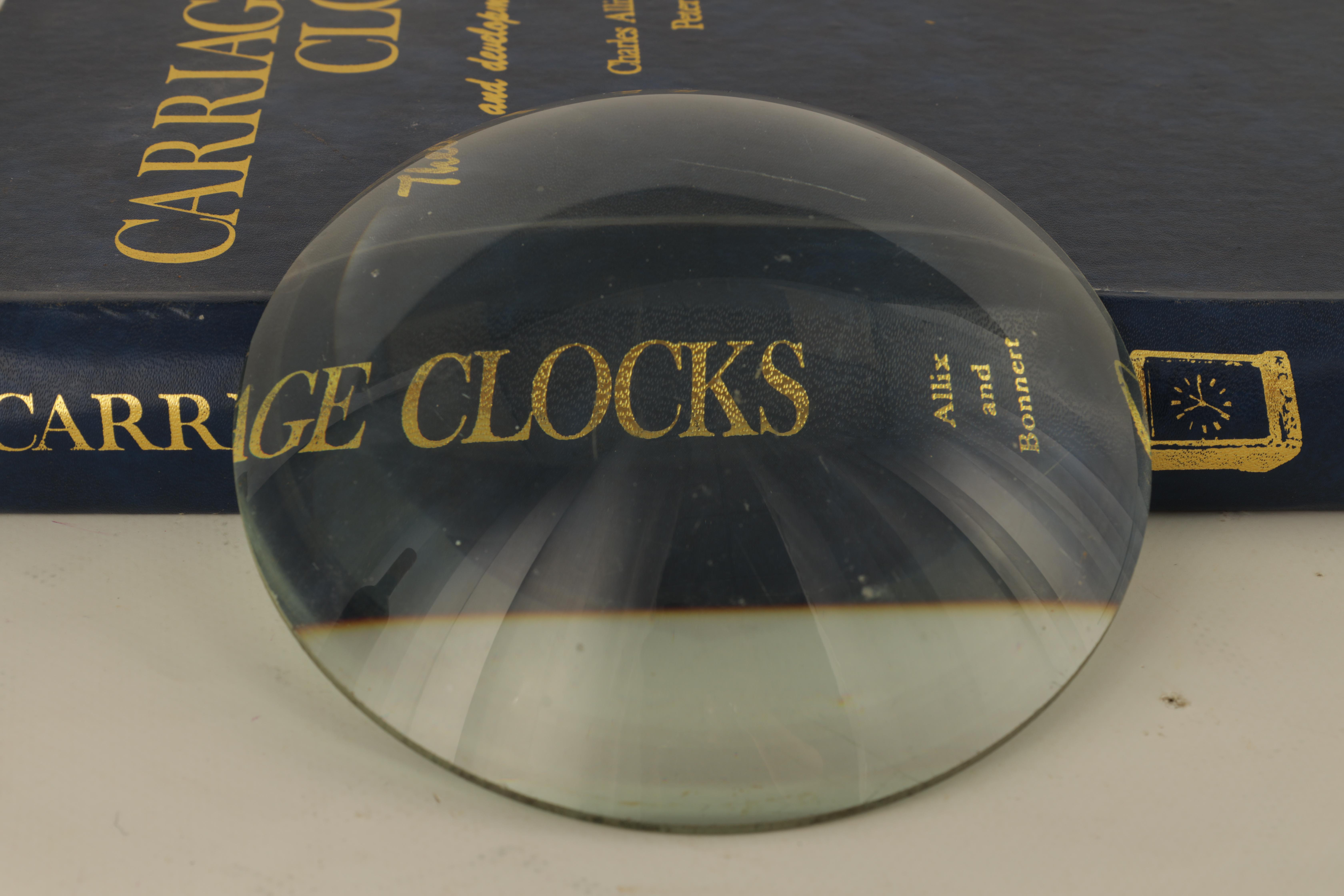 TWO MAGNIFYING LENSES including a large circular and square examples TOGETHER WITH A BOX OF CLOCK - Image 3 of 11