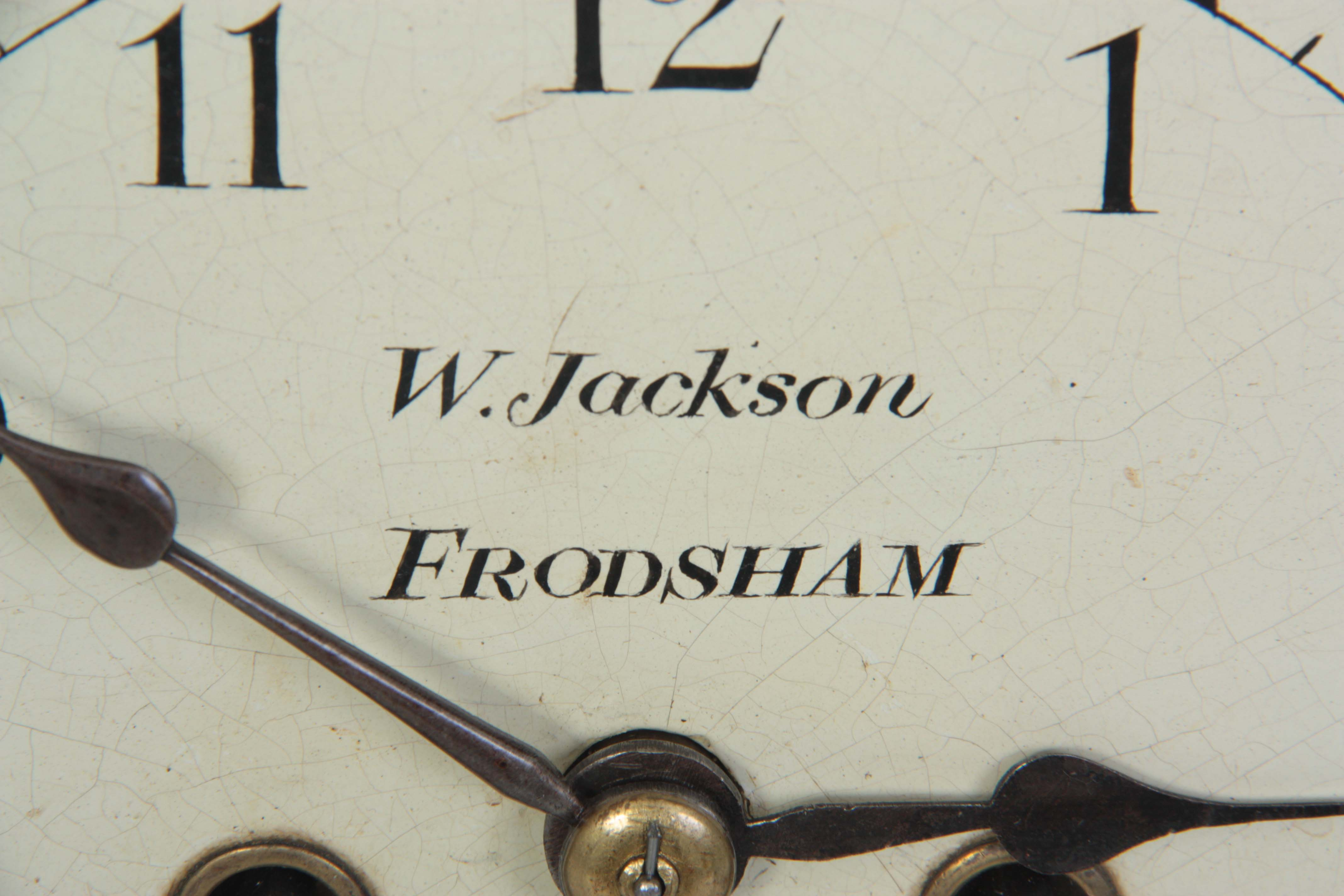 WILLIAM JACKSON, FRODSHAM A GEORGE III PAINTED DIAL MAHOGANY BRACKET CLOCK the case with moulded - Image 2 of 7