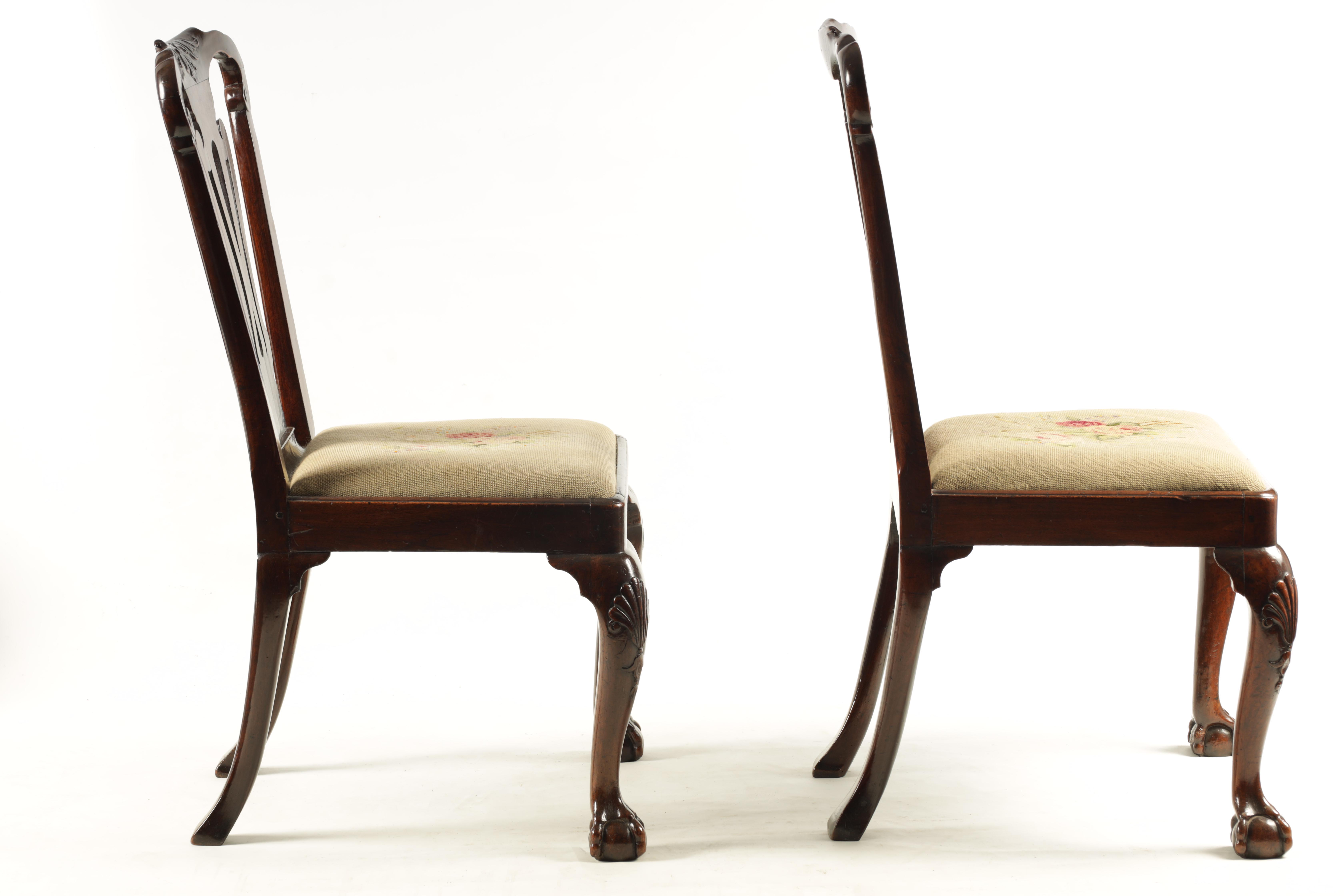 A PAIR OF GEORGE I WALNUT SIDE CHAIRS with leaf carved and scrolled top rails above vase-shaped - Image 7 of 12
