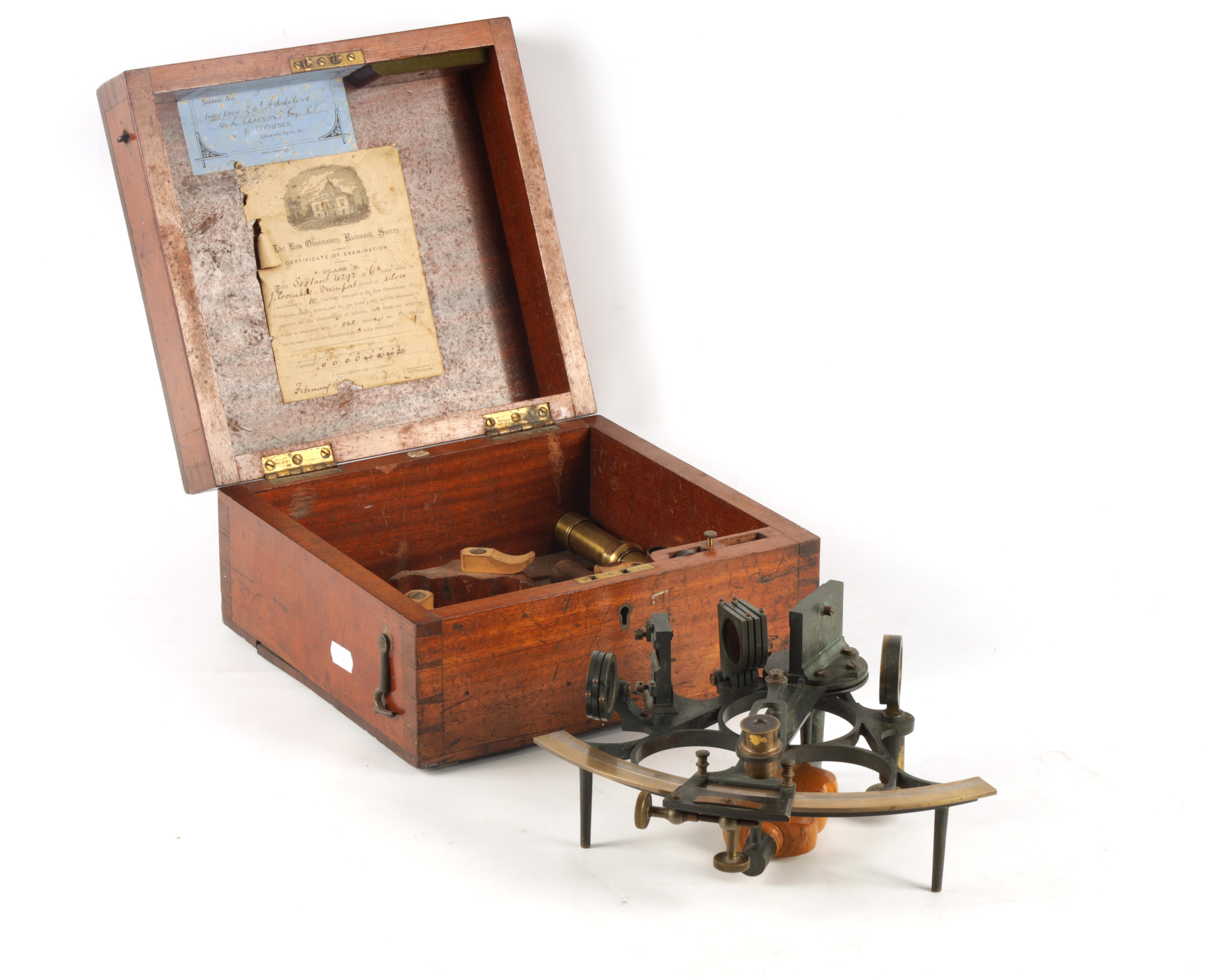 J. COOMBES, OPTICIAN & ADMIRALTY AGENT, DEVONPORT. A LATE 19TH CENTURY BRASS FRAMED SEXTANT IN