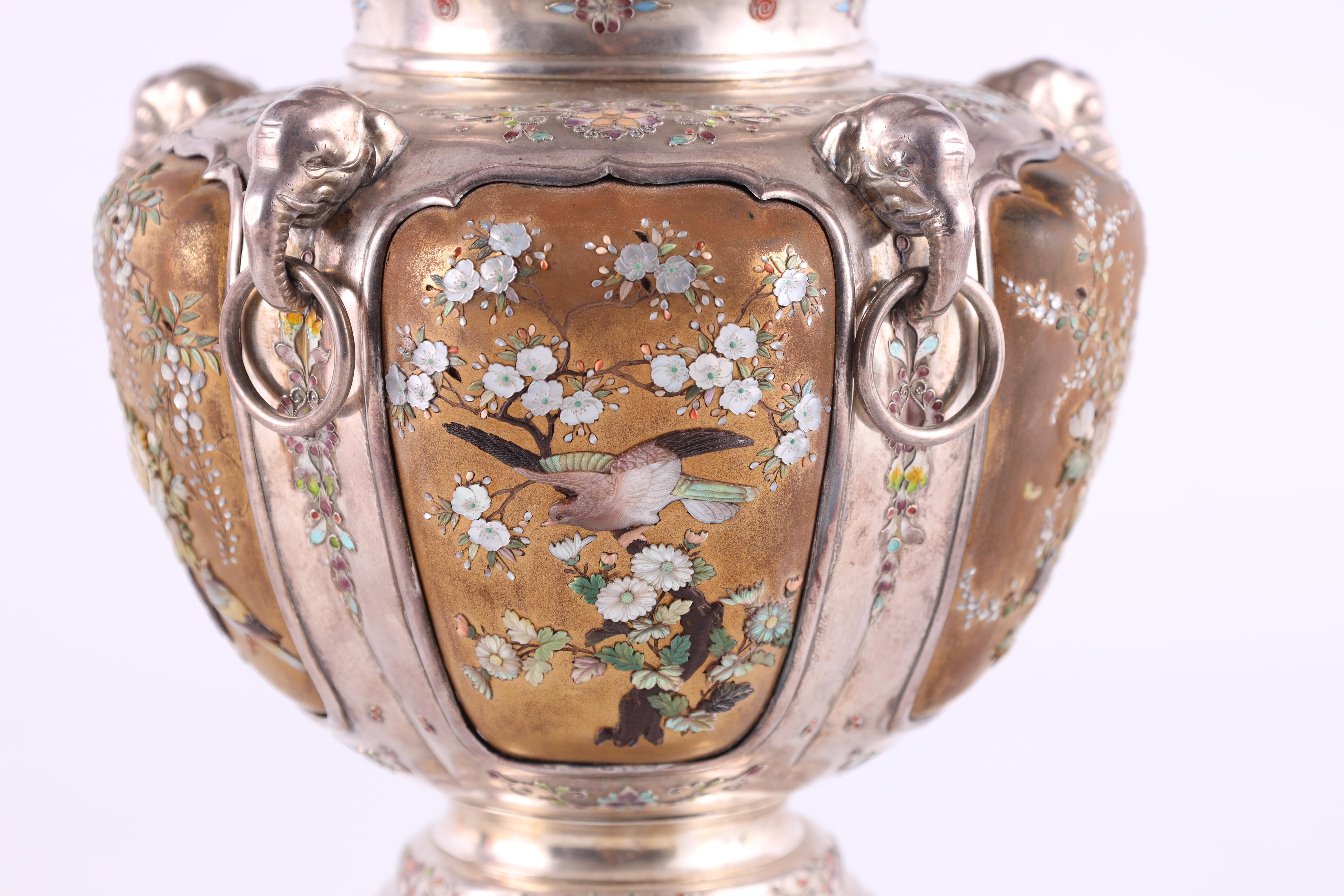 A JAPANESE MEIJI PERIOD SILVER & GOLD LACQUER SHIBAYAMA KORO covered in multicoloured enamels, the - Image 8 of 10