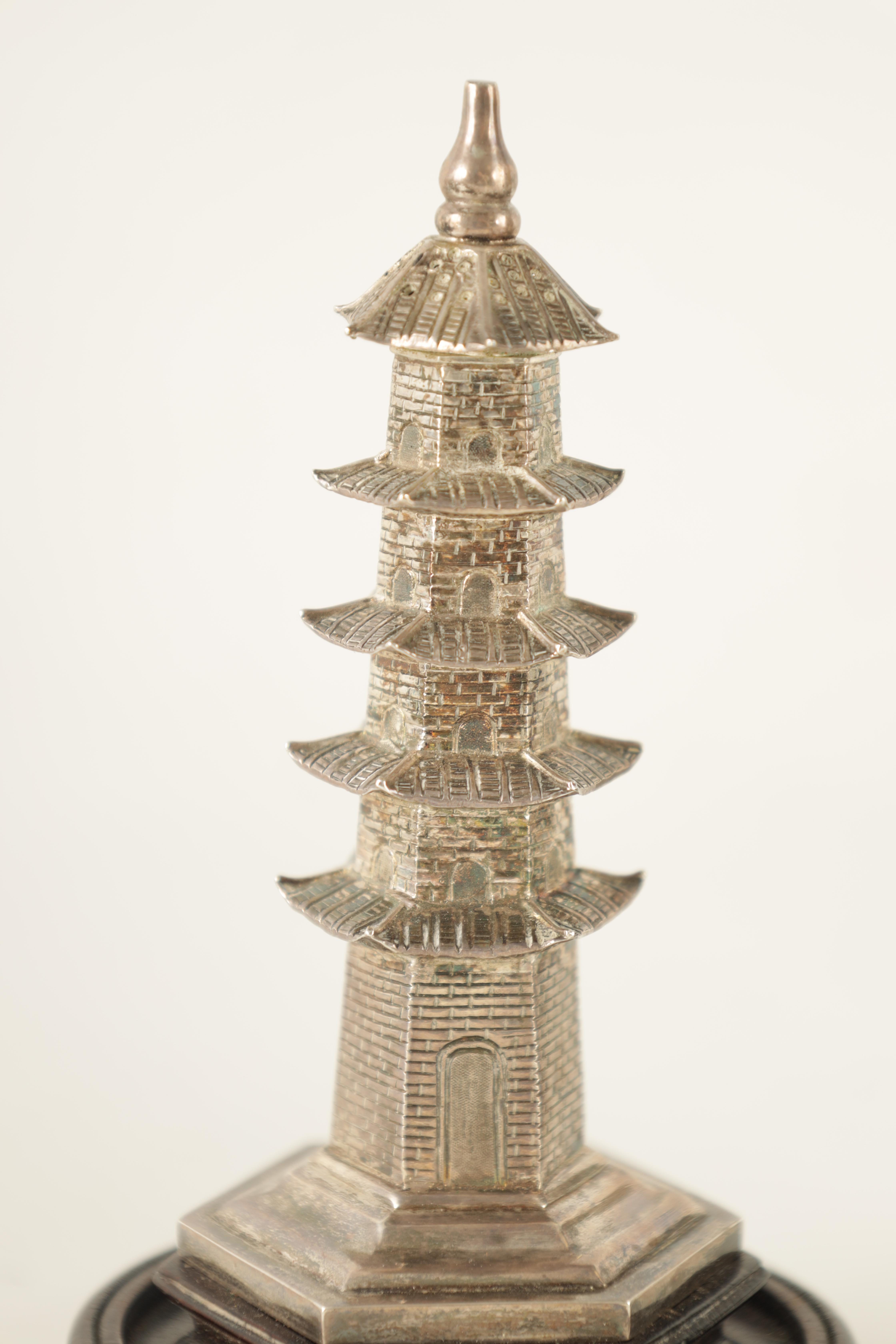 TWO 19TH CENTURY CHINESE SILVER MODELS comprising a pagoda-shaped tower on a hardwood base 13.5cm - Image 2 of 6