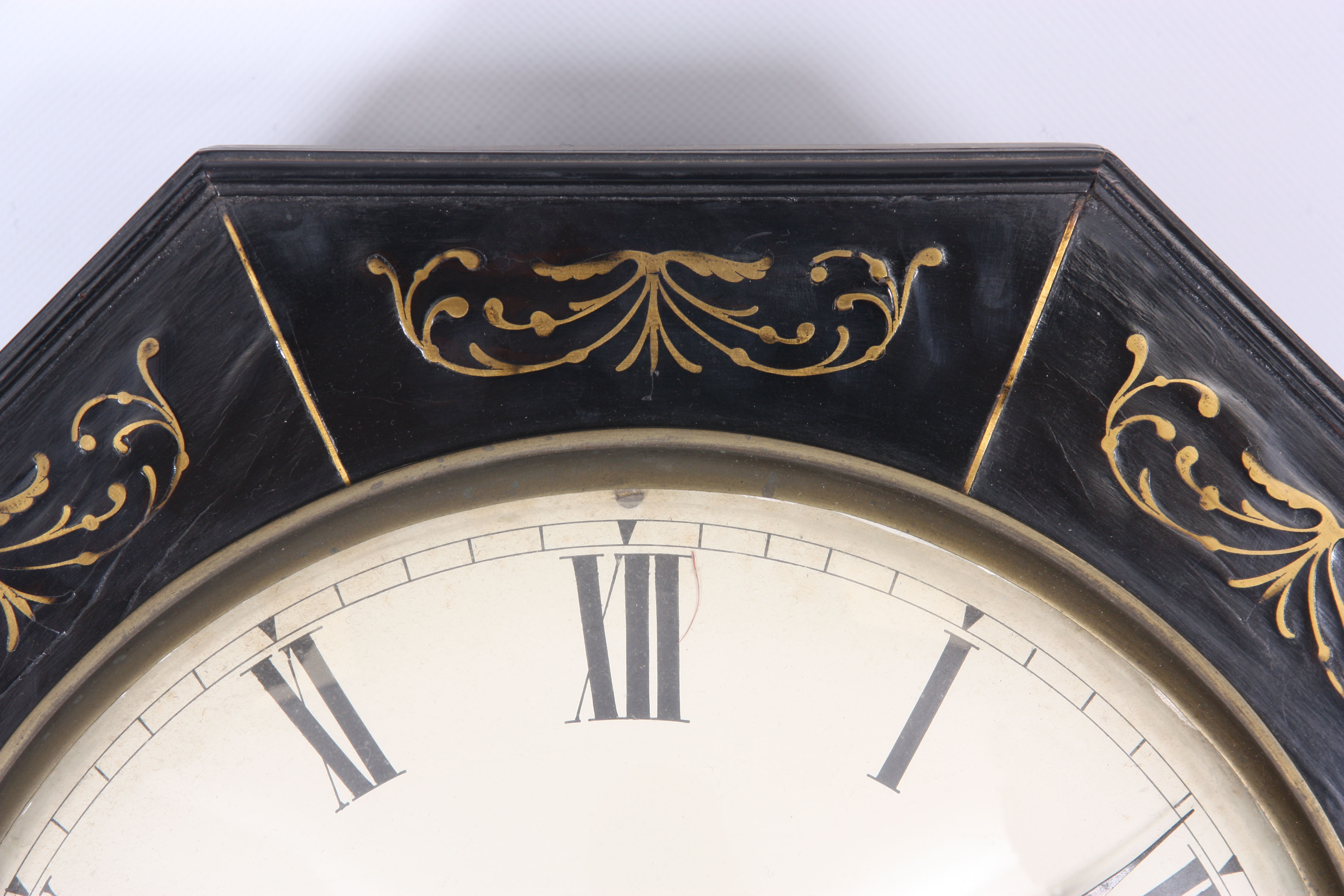 ROSSI, NORWICH A REGENCY EBONISED DOUBLE FUSEE WALL CLOCK with octagonal brass inlaid surround on - Image 2 of 5