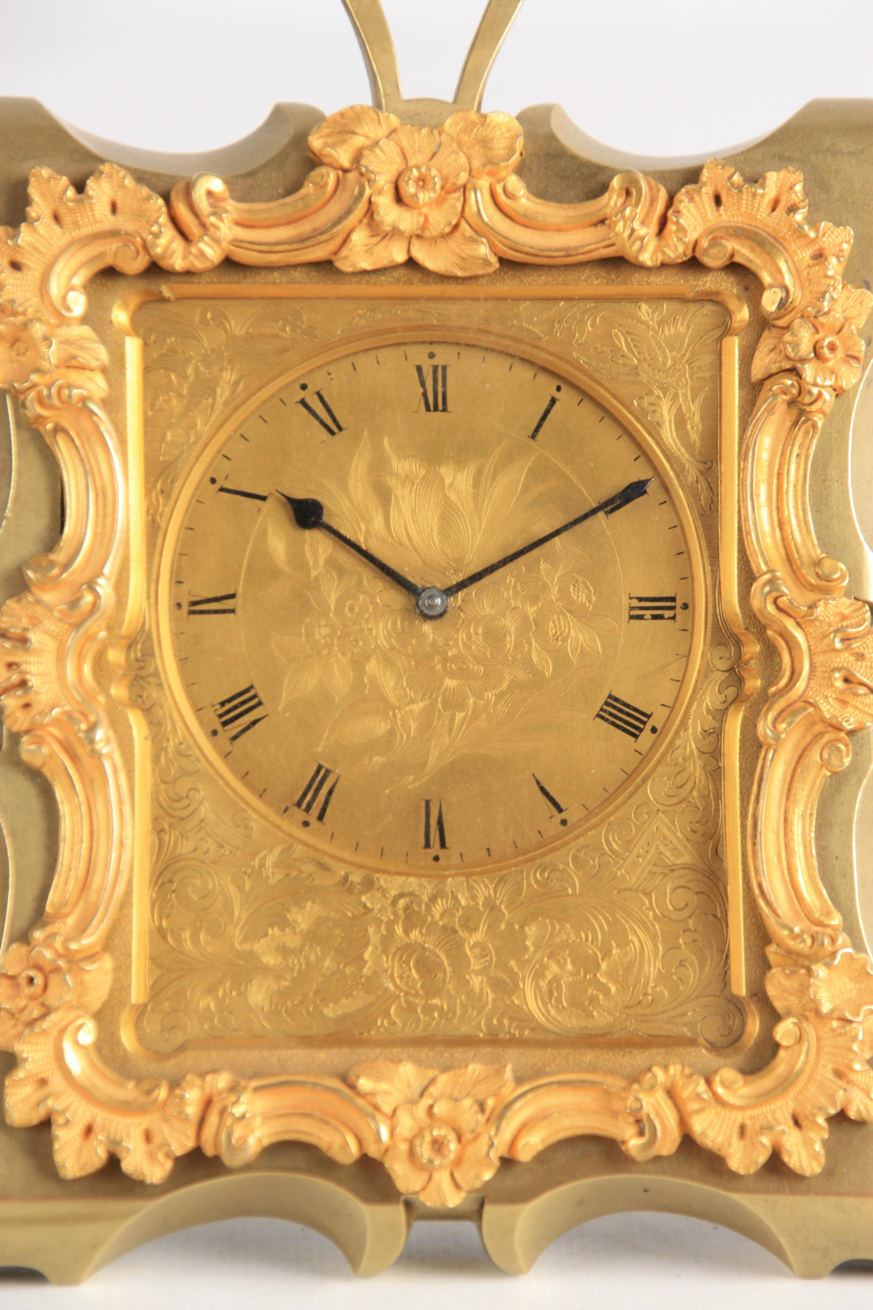 KLEYSER & CO. 66 HIGH STREET, LONDON A MID 19TH CENTURY BRASS STRUT CLOCK IN THE MANNER OF THOMAS - Image 3 of 6