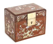 A 19TH CENTURY CHINESE MOTHER OF PEARL INLAID HARDWOOD TEA CADDY of rectangular form with hinged top