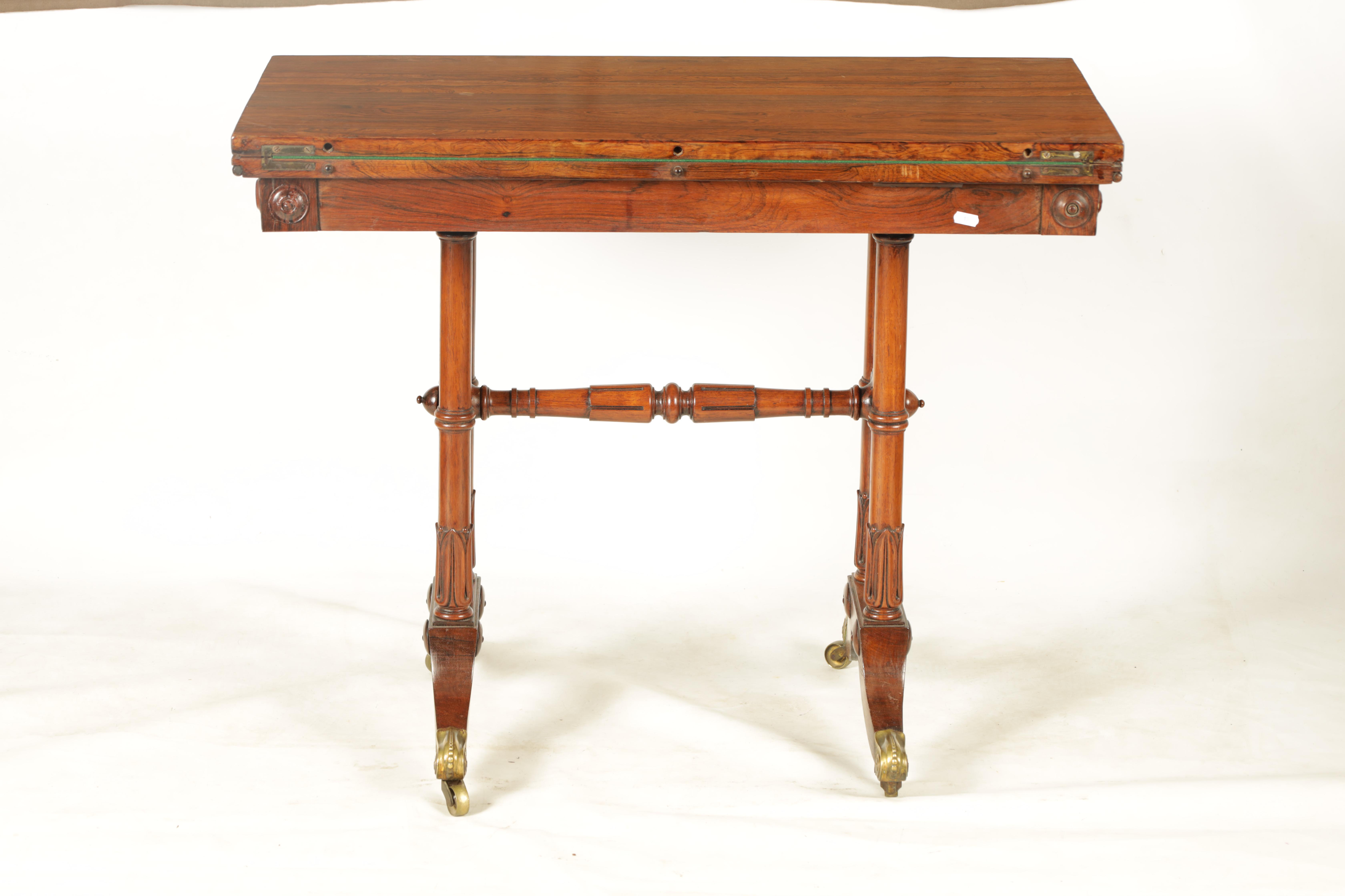 A REGENCY FIGURED ROSEWOOD CARD TABLE IN THE MANNER OF T & G SEDDON with revolving top revealing a - Image 9 of 9