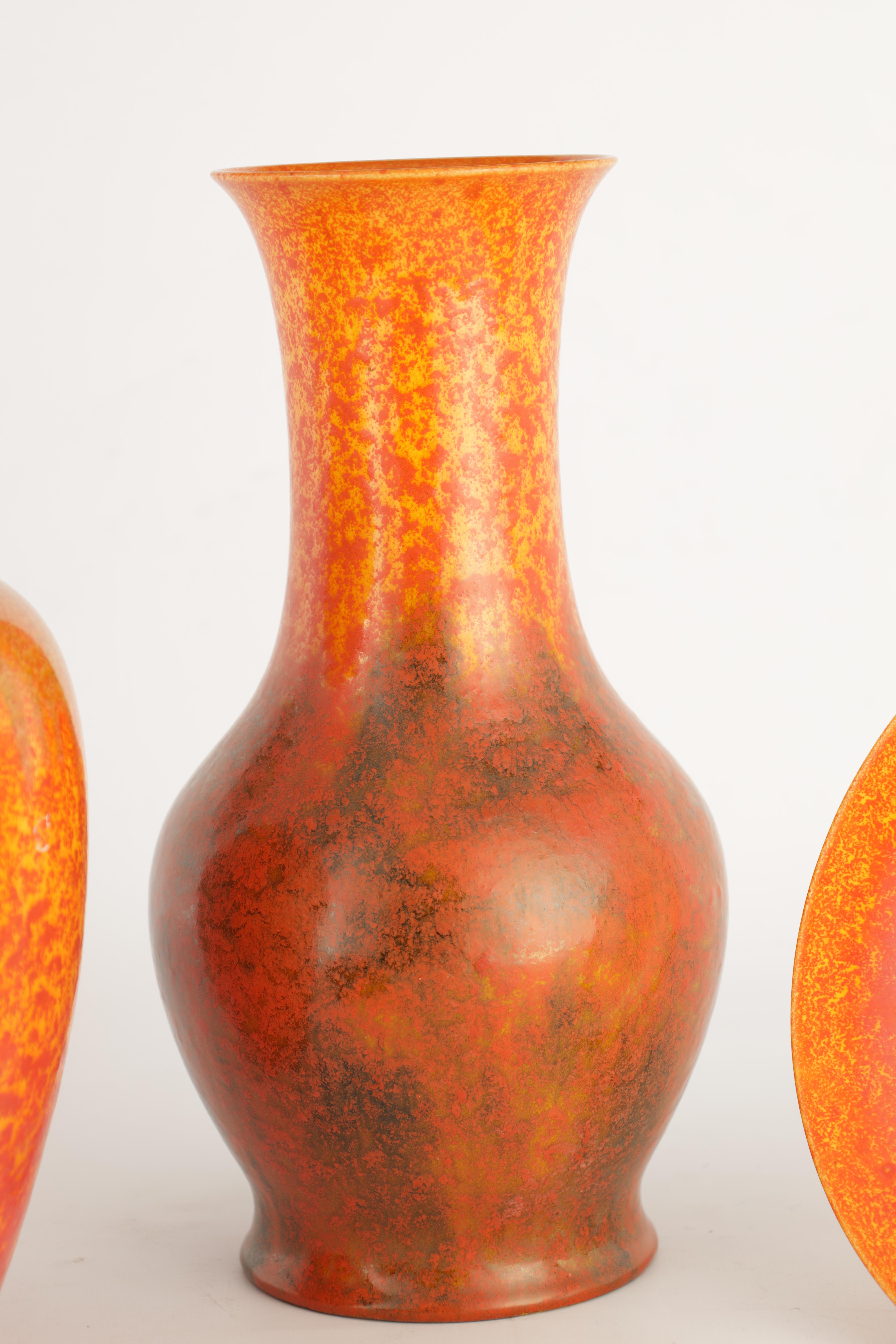 A GROUP OF FOUR PIECES OF ROYAL LANCASTRIAN WARE comprising a tapering shouldered vase, a baluster - Image 4 of 12