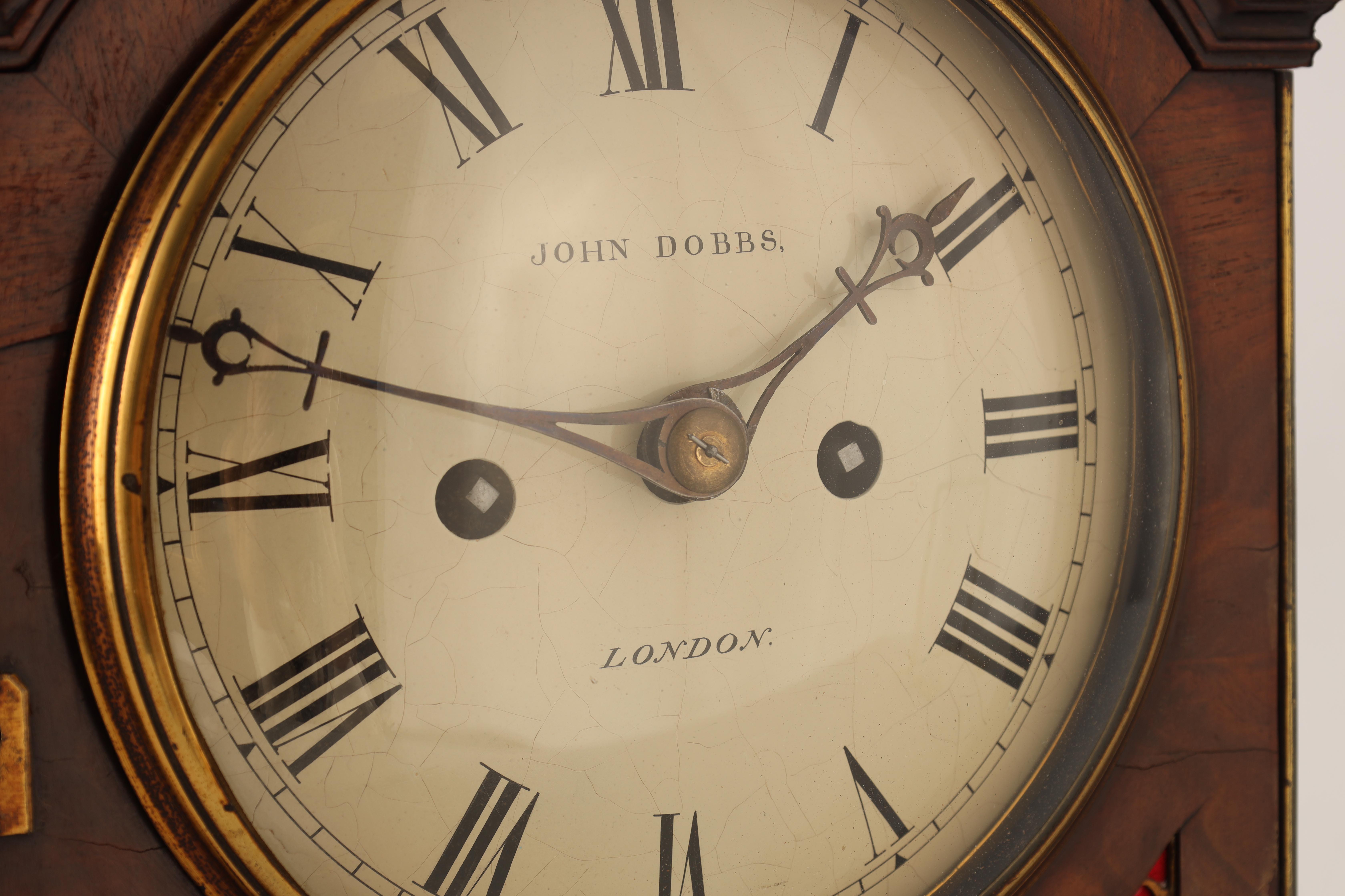 JOHN DOBBS, LONDON A LATE GEORGE III MAHOGANY VERGE BRACKET CLOCK the figured mahogany case with - Image 3 of 8