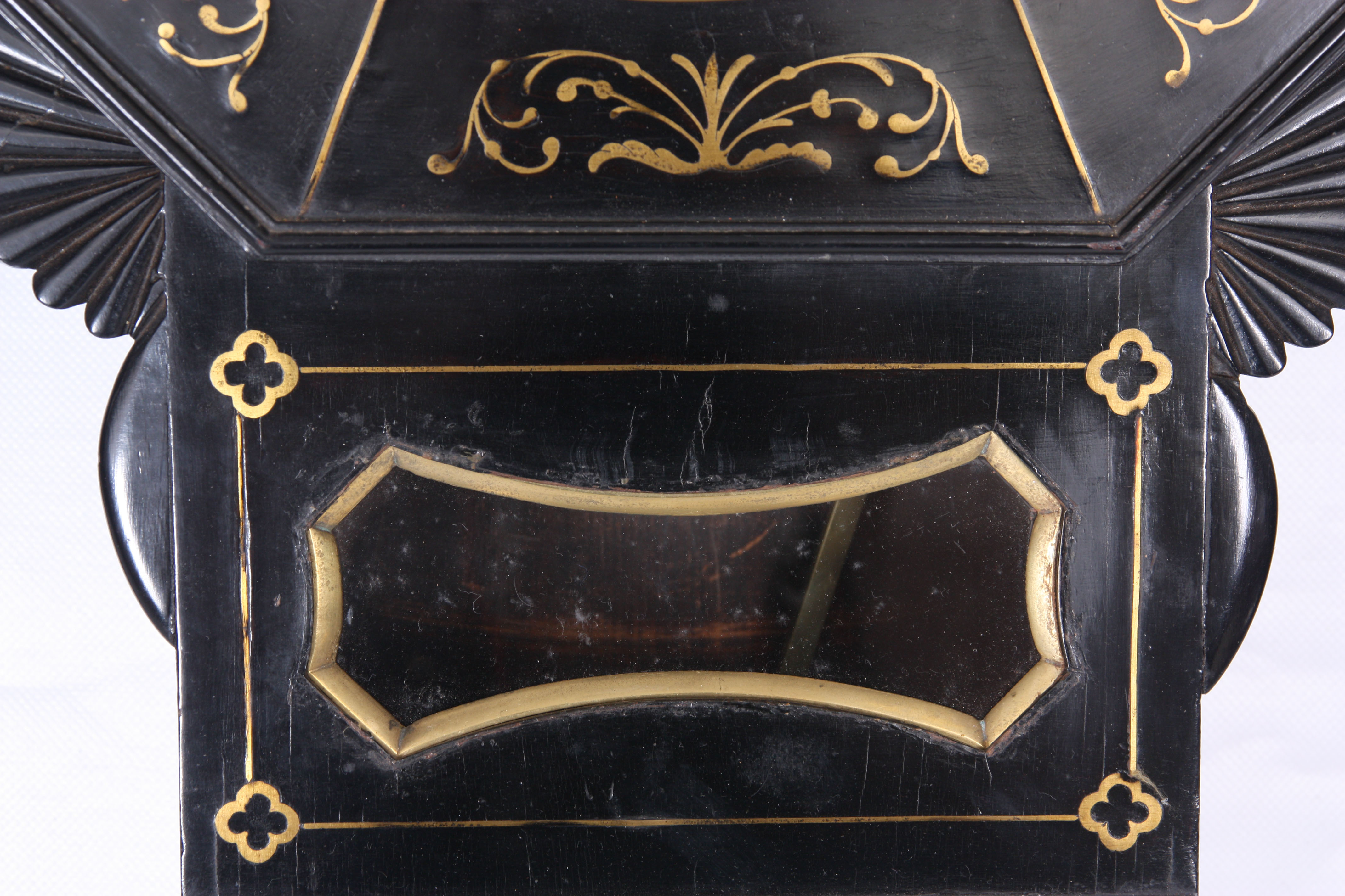 ROSSI, NORWICH A REGENCY EBONISED DOUBLE FUSEE WALL CLOCK with octagonal brass inlaid surround on - Image 4 of 5