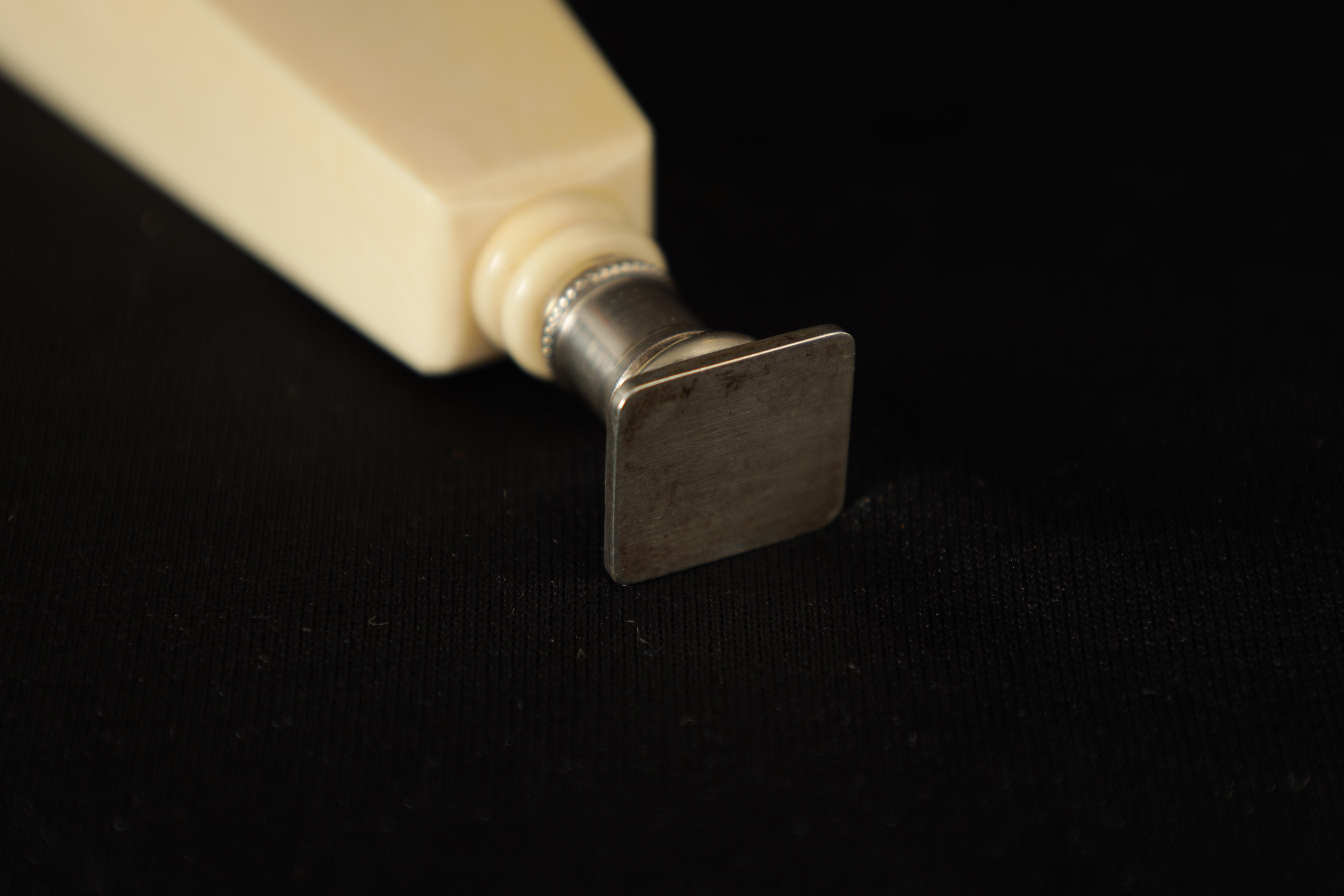 A LATE 19TH CENTURY FRENCH IVORY AND SILVER SEAL the tapered handle decorated with finely pierced - Image 5 of 5