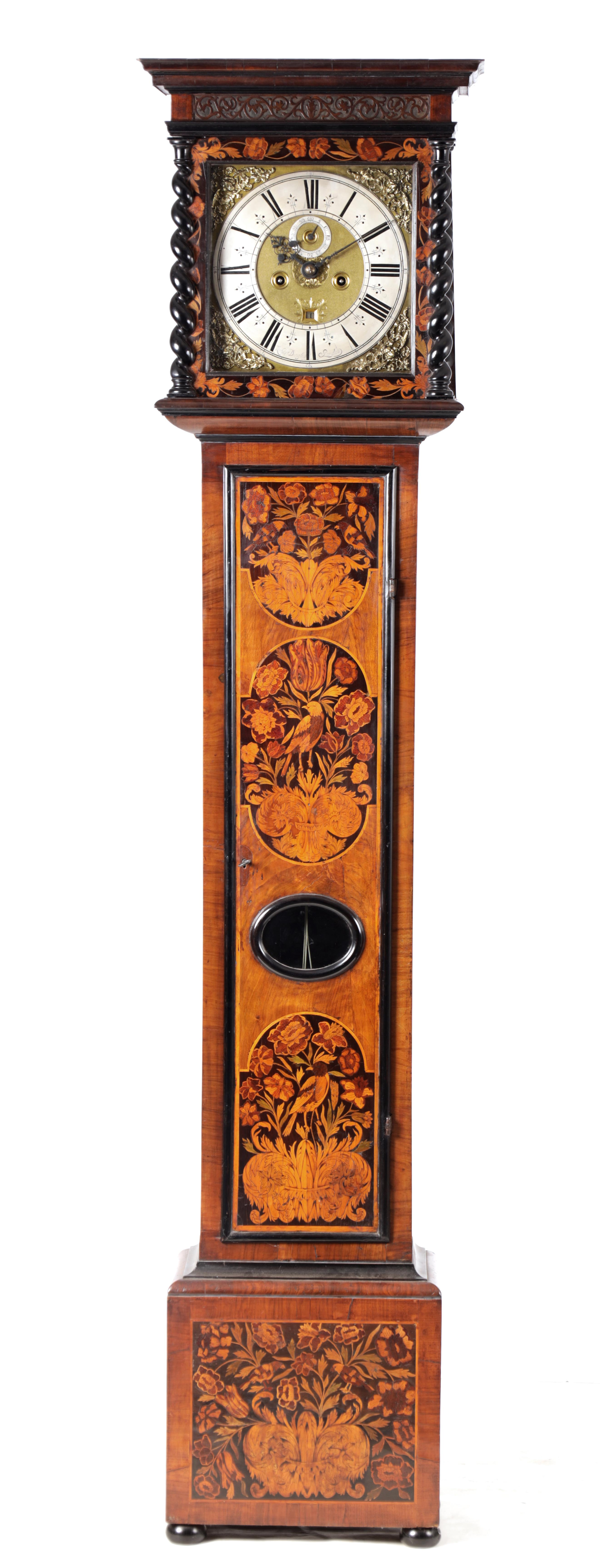 """ROBERT DINGLY, LONDON A LATE 17TH CENTURY 11"""" MARQUETRY INLAID WALNUT LONGCASE CLOCK the hood with"""