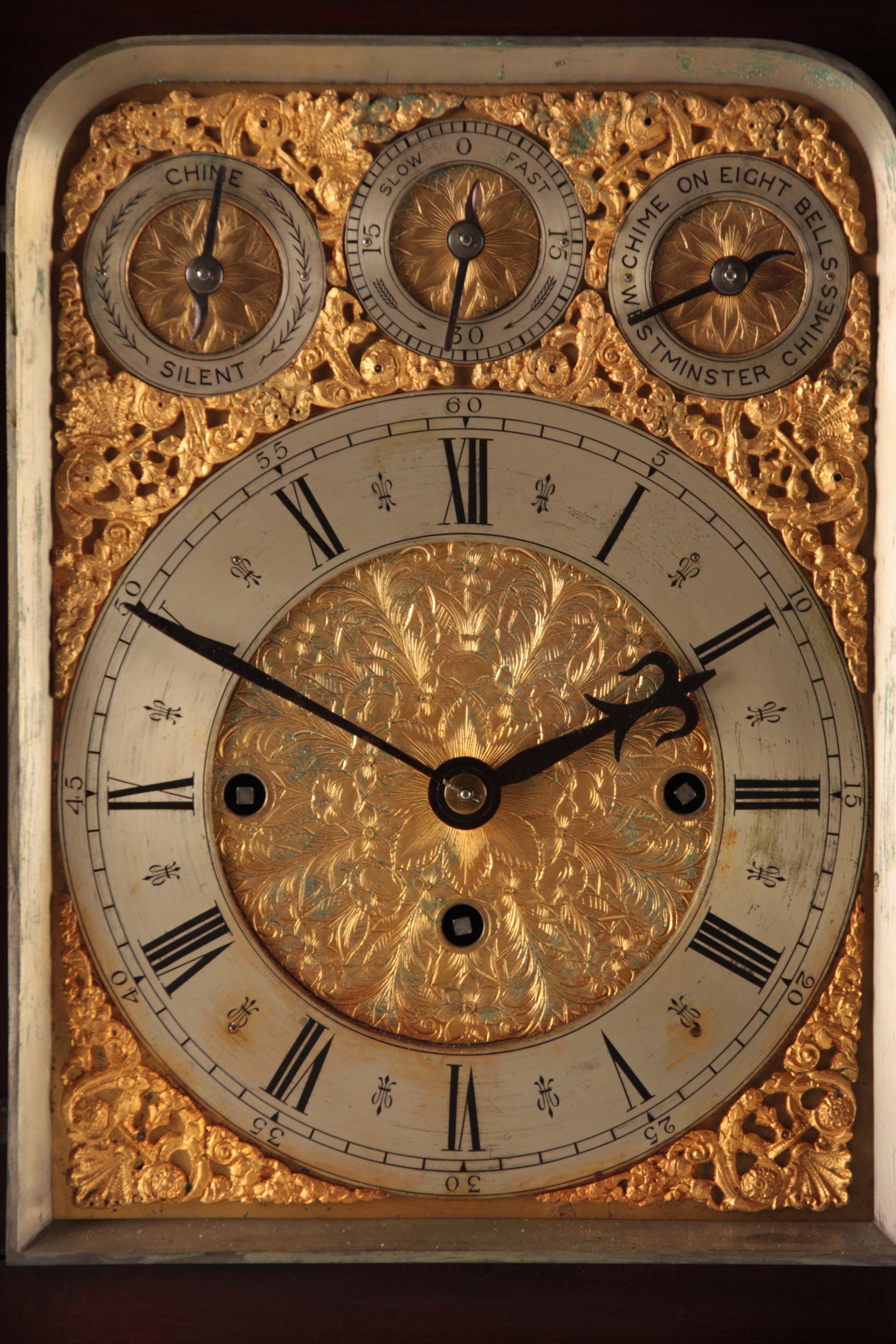 A LATE 19TH CENTURY QUARTER CHIMING TRIPLE FUSEE BRACKET CLOCK the large mahogany case with arched - Image 4 of 7