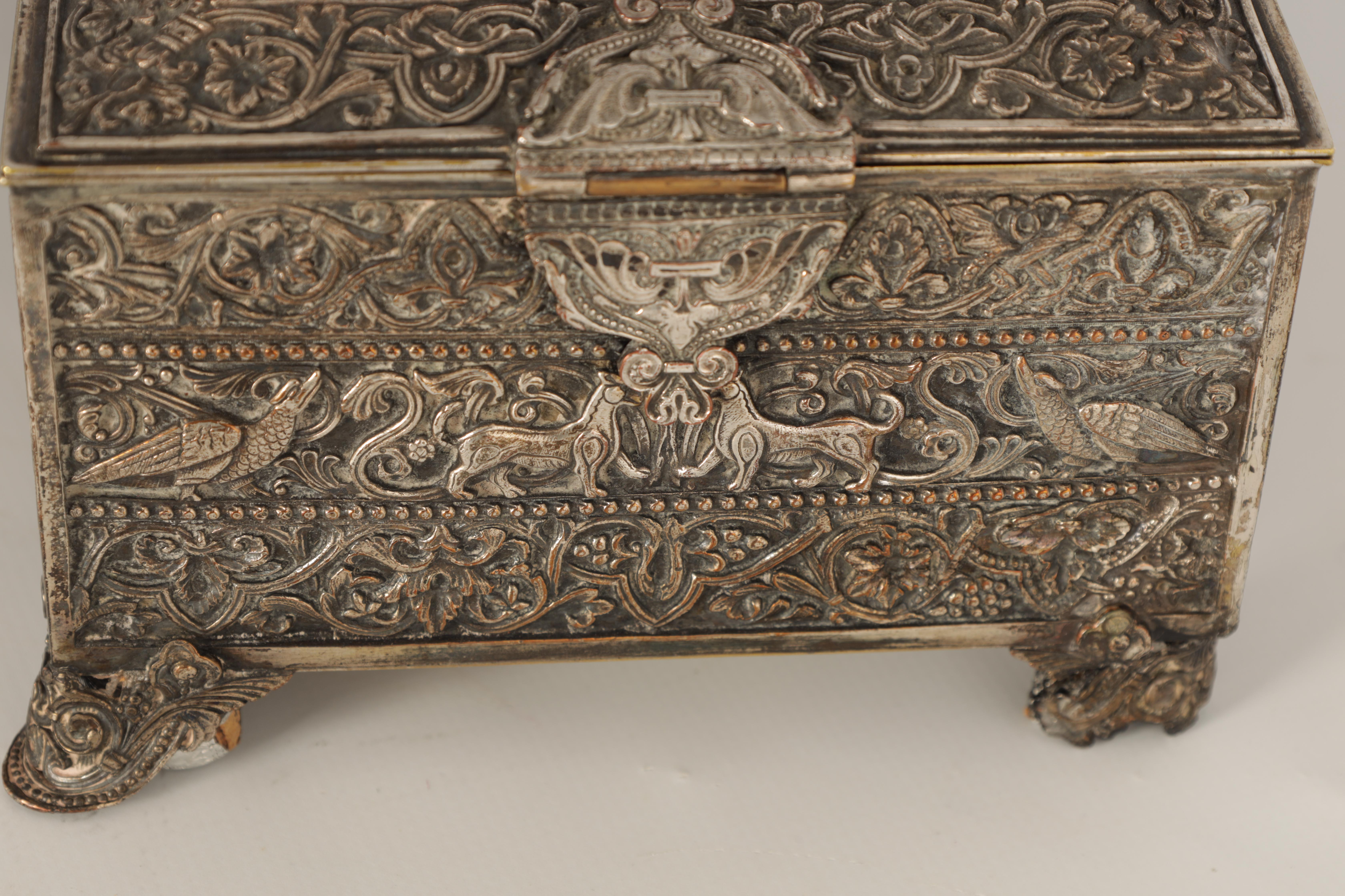 A 19TH CENTURY SILVERED BRONZE JEWELLERY CASKET the lid with intricate relief groups of birds, - Image 3 of 12