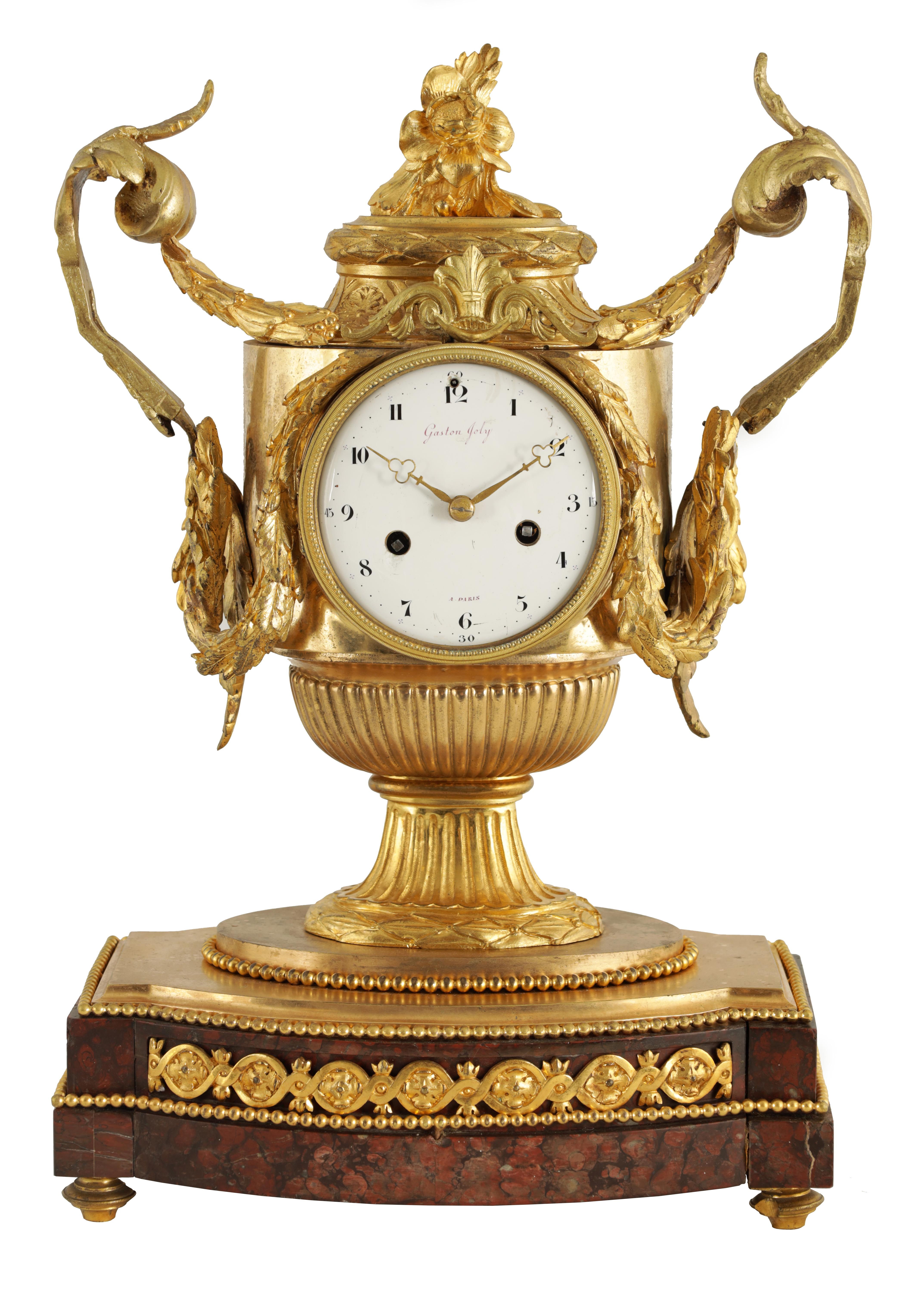 GASTON JOLY, A PARIS AN IMPRESSIVE EARLY 19TH CENTURY FRENCH ORMOLU AND ROUGE MARBLE URN SHAPED
