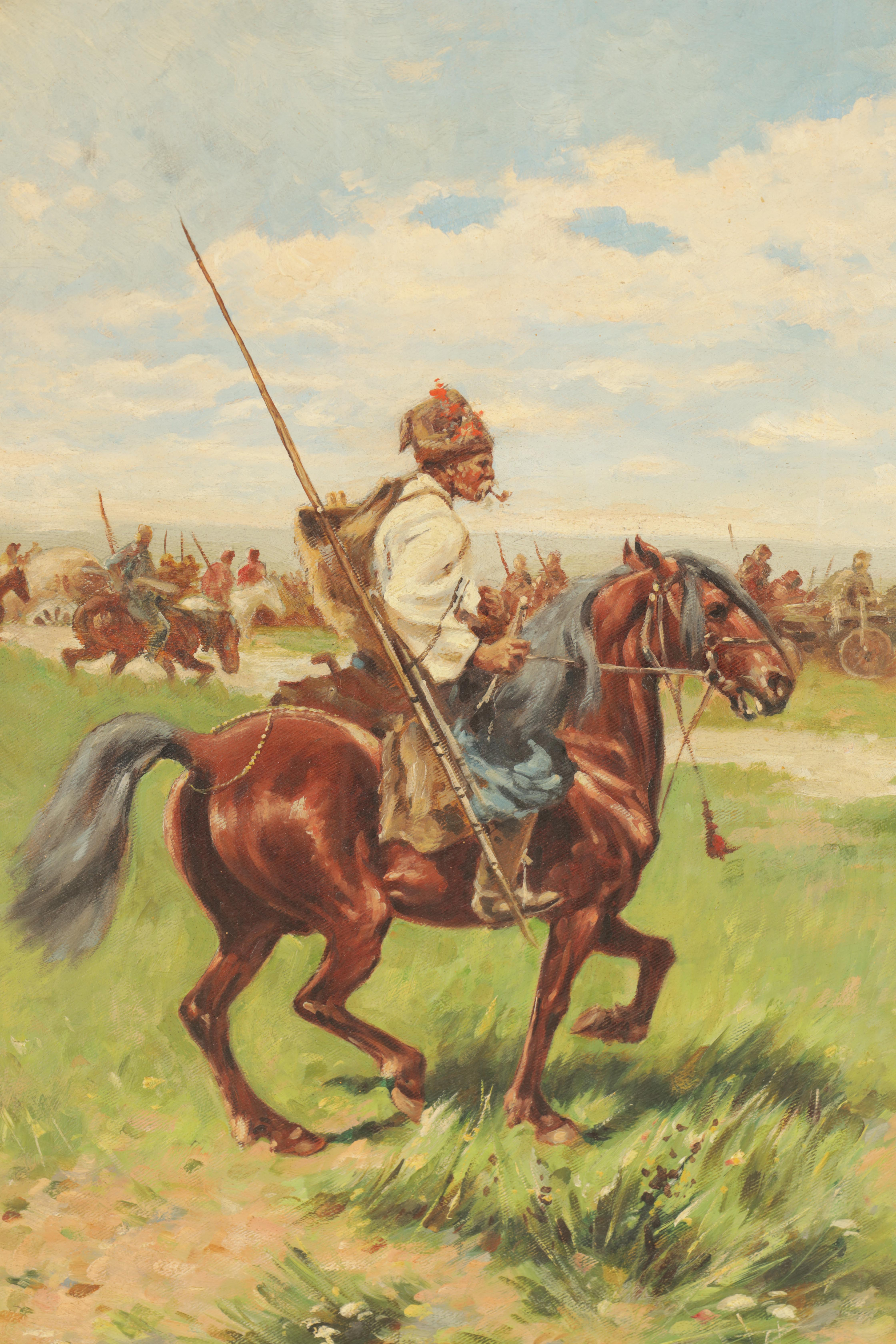 JOSEF VON BRANDT. POLISH, 1841-1928 OIL ON CANVAS Cossacks fording 49.5cm high, 33.5cm wide - signed - Image 2 of 5