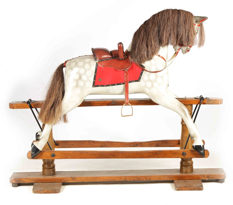 A LARGE 20TH CENTURY DAPPLE GREY PAINTED WOOD ROCKING HORSE with leather seat and bridle 157cm - Image 2 of 8