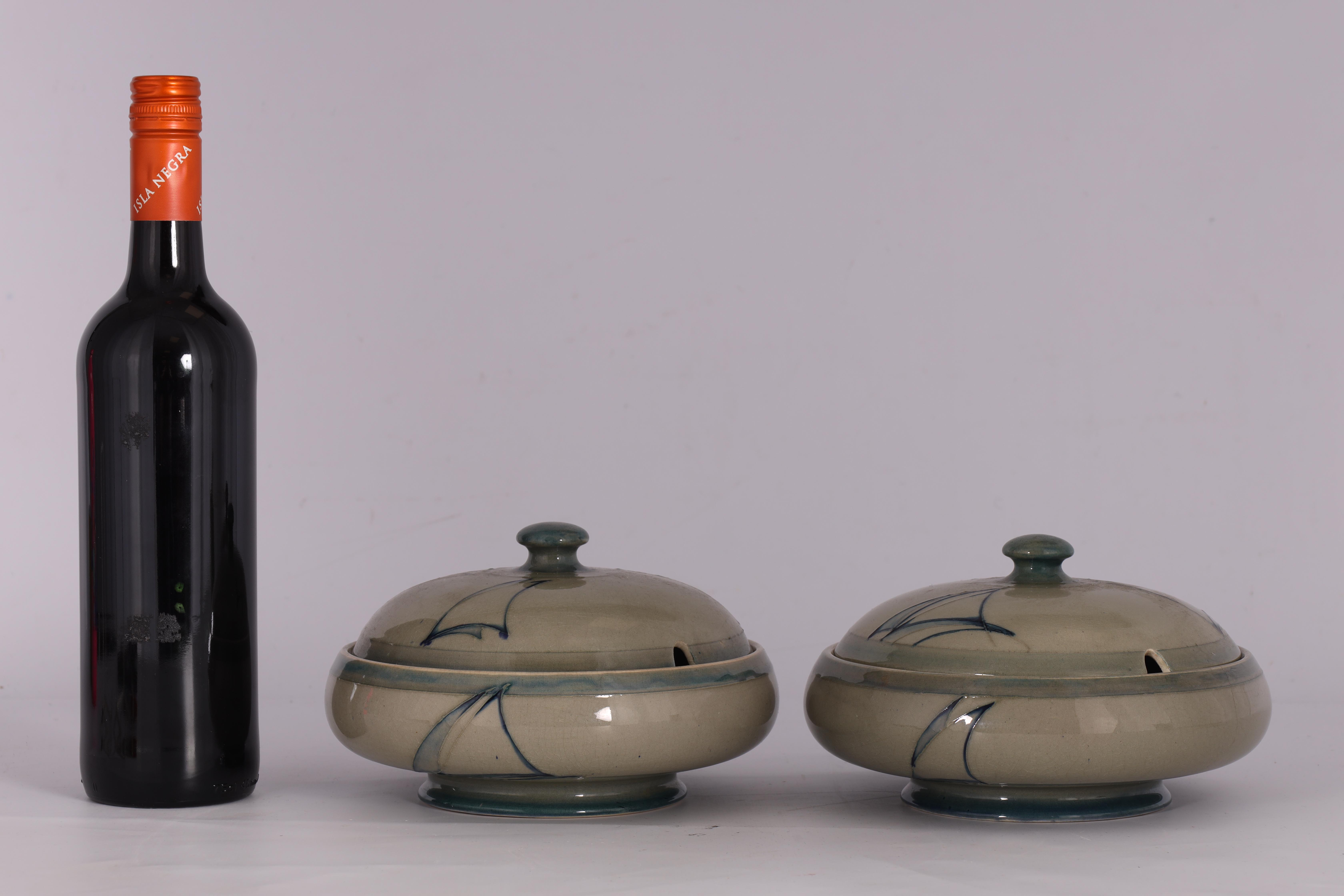 A PAIR OF MOORCROFT LIDDED TABLE TUREENS decorated in the Yacht pattern on a celadon ground, 19. - Image 4 of 12