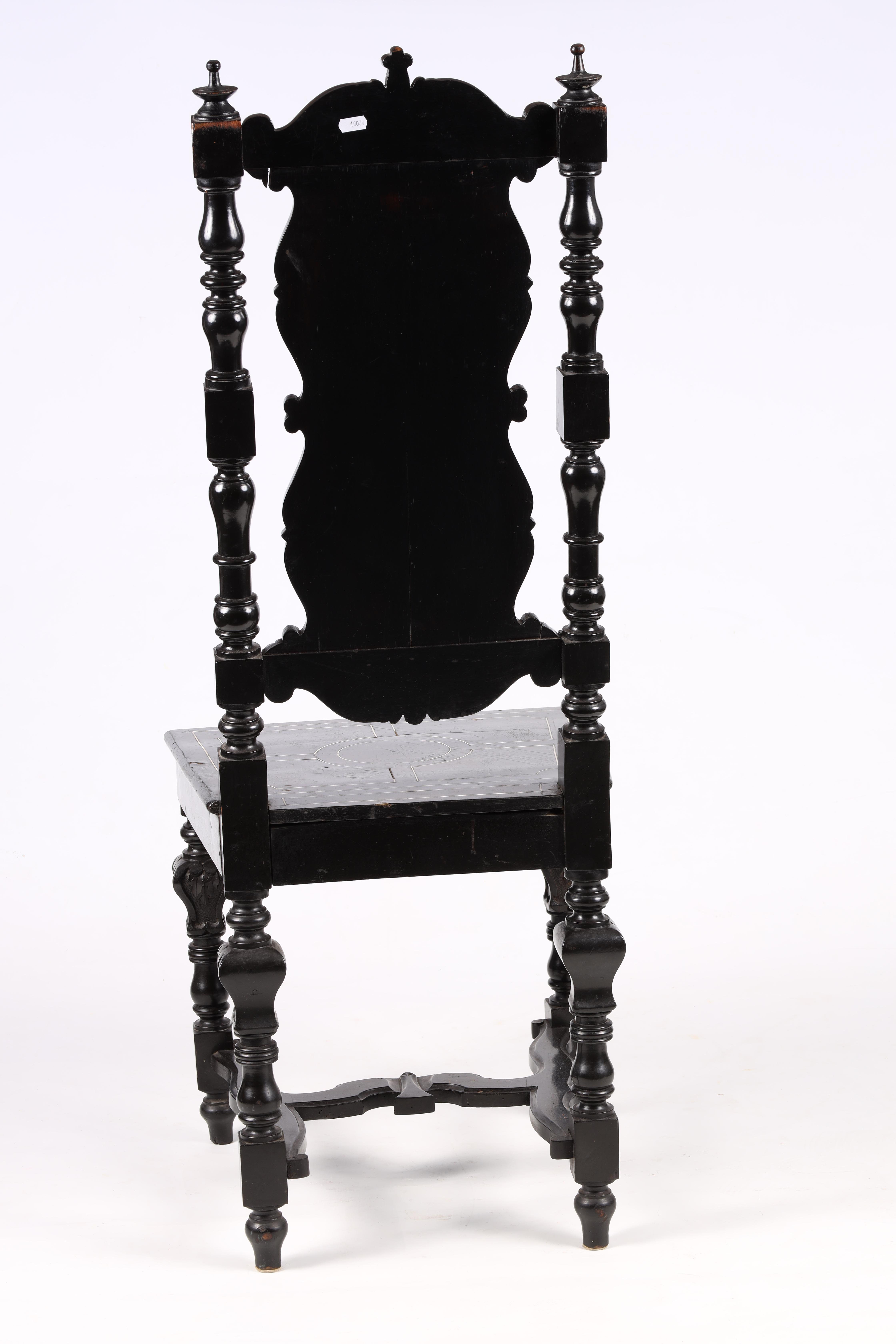 A PAIR OF LATE 19TH CENTURY EBONISED AND BONE INLAID ITALIAN SIDE CHAIRS with finely inlaid - Image 6 of 6