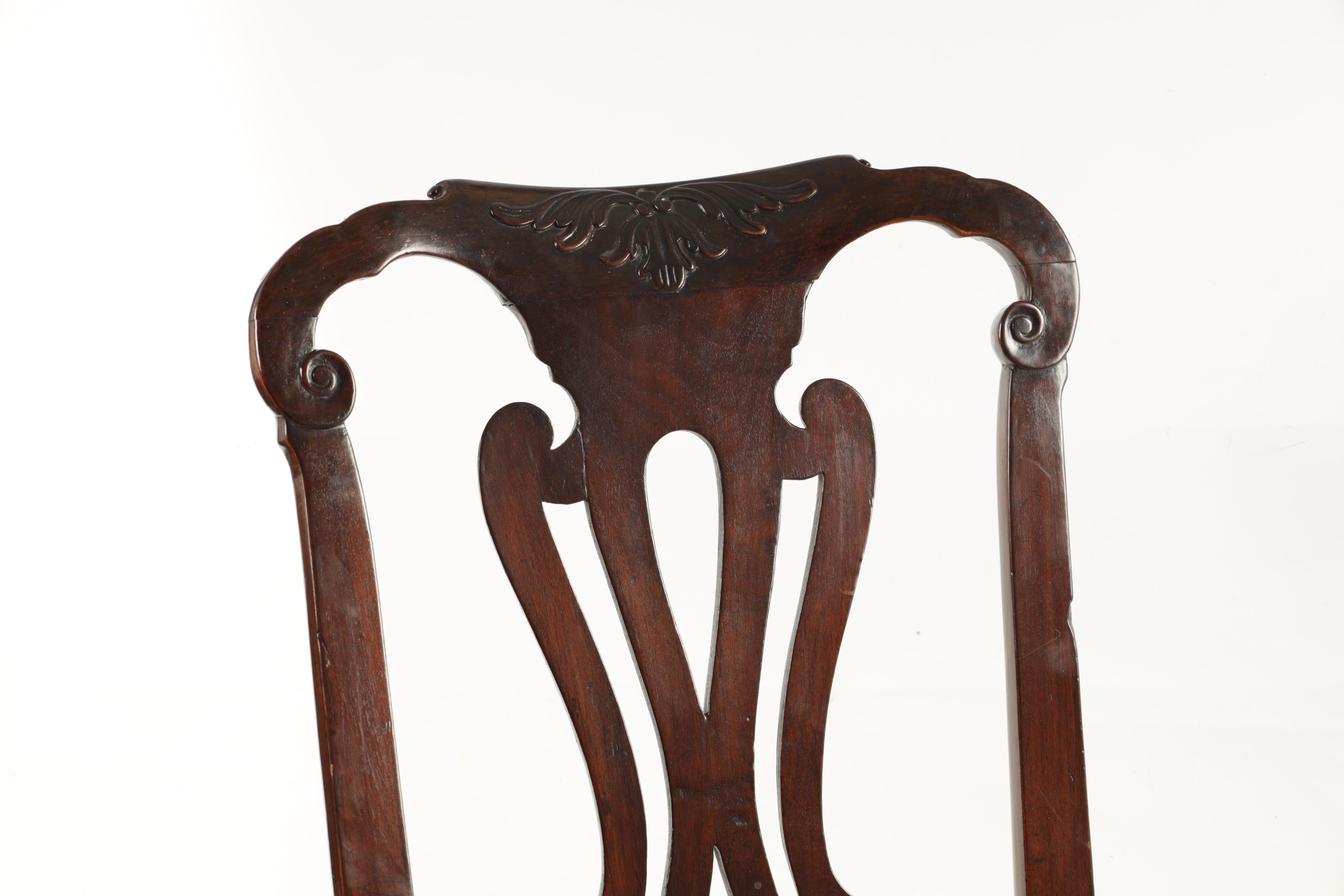 A PAIR OF GEORGE I WALNUT SIDE CHAIRS with leaf carved and scrolled top rails above vase-shaped - Image 3 of 12