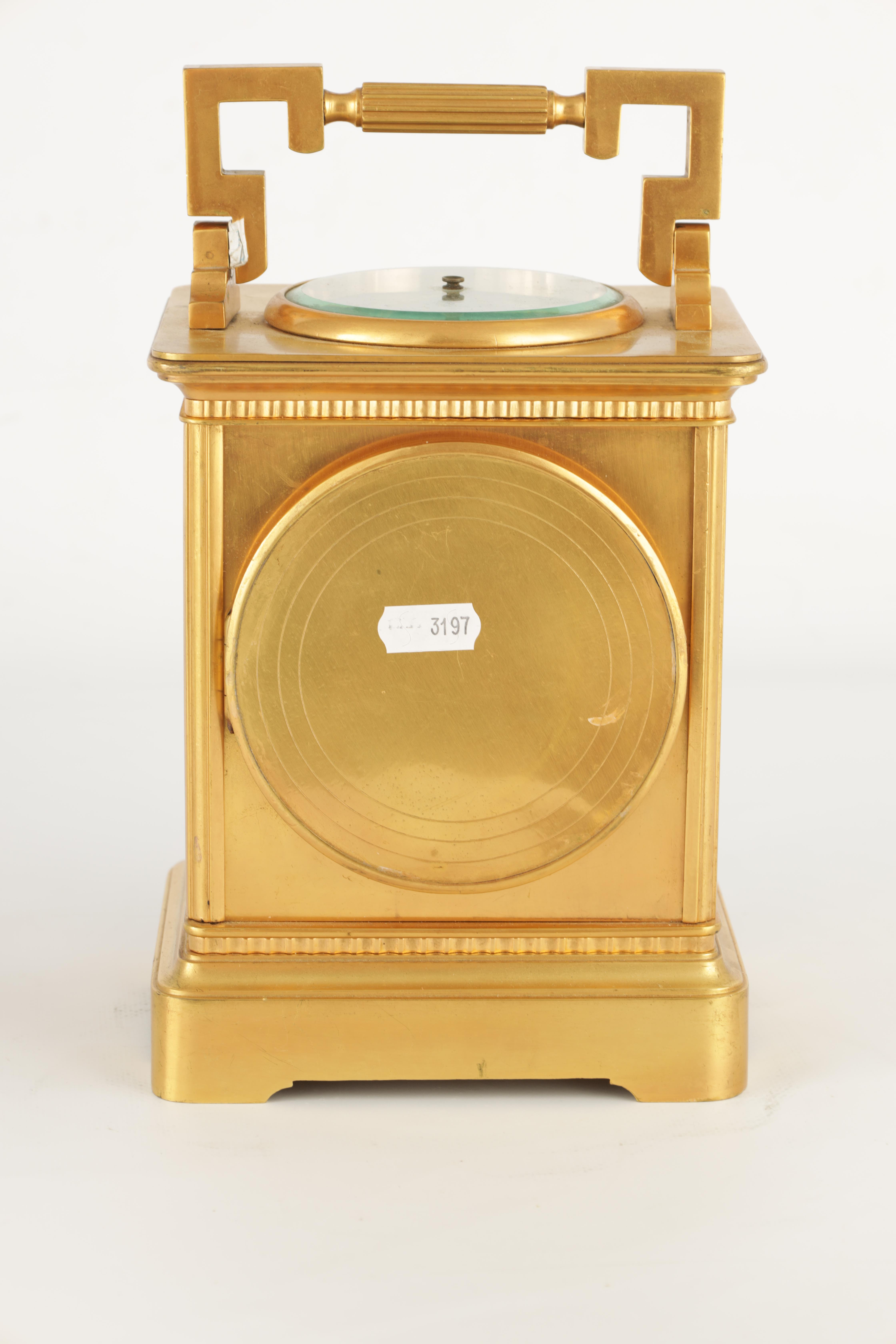 A LARGE FRENCH GILT BRASS CARRIAGE CLOCK WITH BAROMETER the moulded case with hinged handle, the top - Image 7 of 8