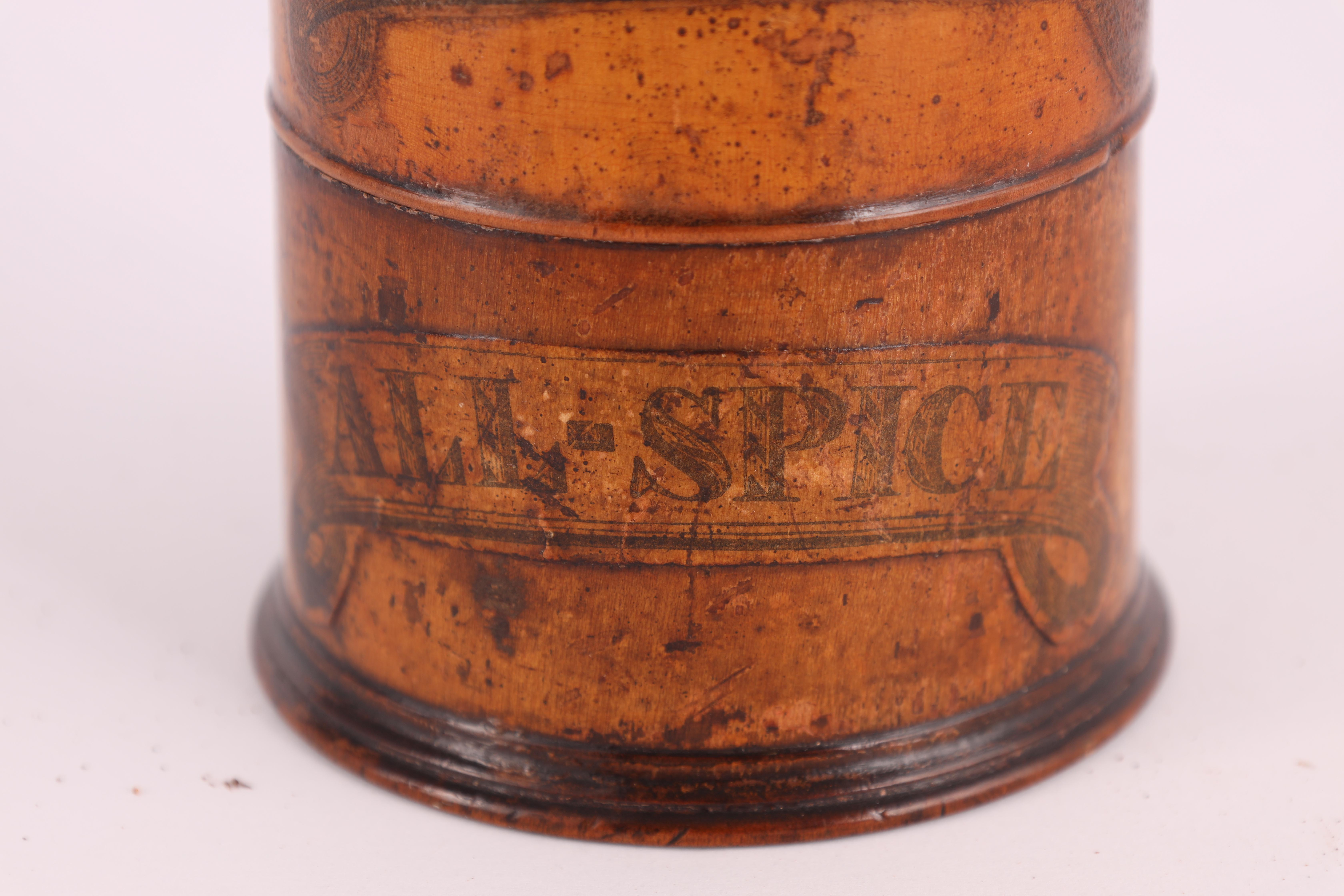 TWO EARLY 19TH CENTURY SYCAMORE TREEN SPICE TOWERS with original labels, the three stack 15cm - Image 8 of 13