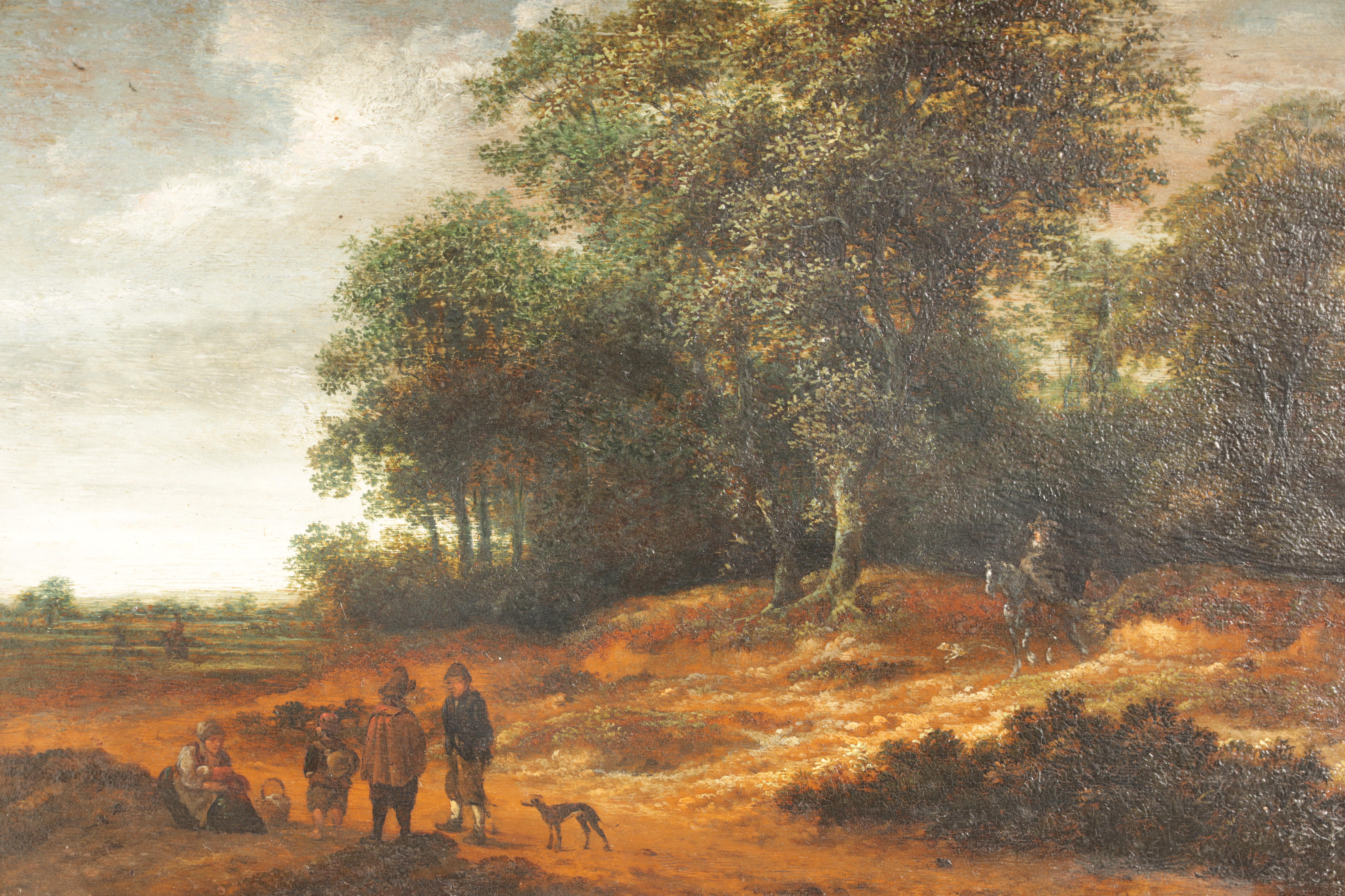 SALOMON ROMBOUTS (1655-1702) A DUTCH 17TH CENTURY OIL ON BOARD depicting figures in a tree-lined - Image 3 of 5