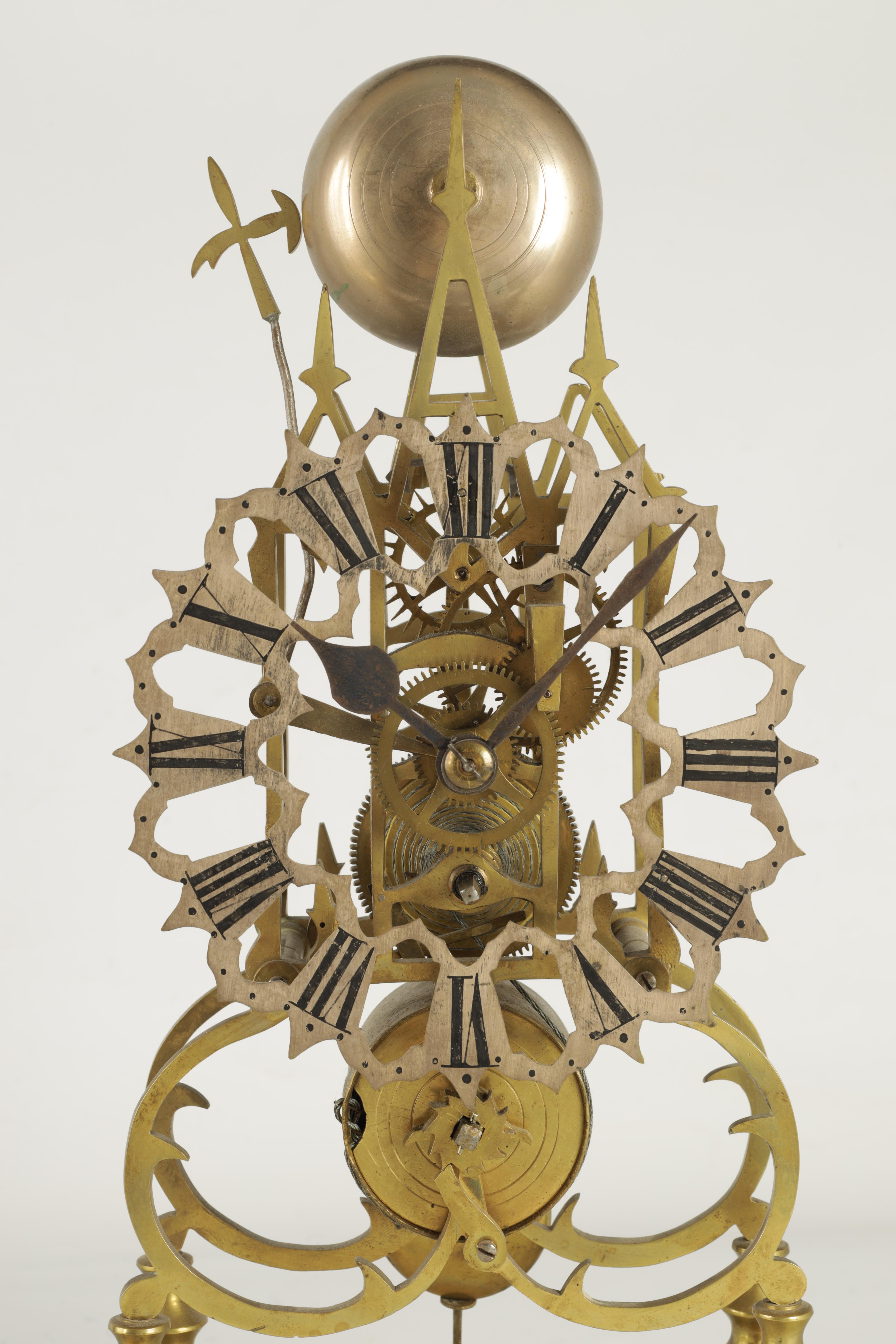 A 19TH CENTURY BRASS SINGLE FUSEE 8-DAY SKELETON CLOCK with liar shaped frame joined by four - Image 3 of 7
