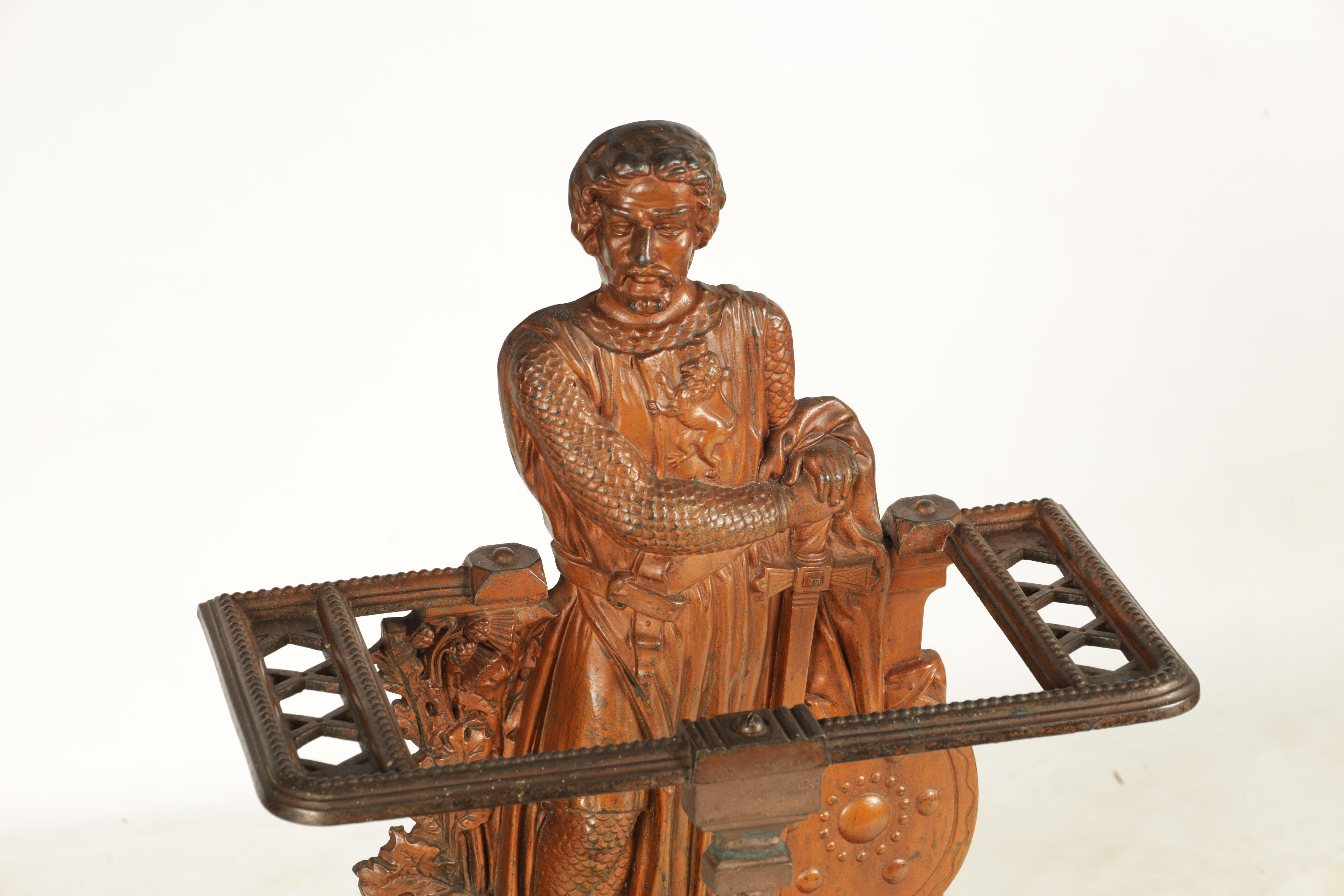 A LATE 19TH CENTURY PAINTED CAST IRON COALBROOKEDALE STYLE STICK STAND DEPICTING WILLIAM WALLACE - Image 2 of 5