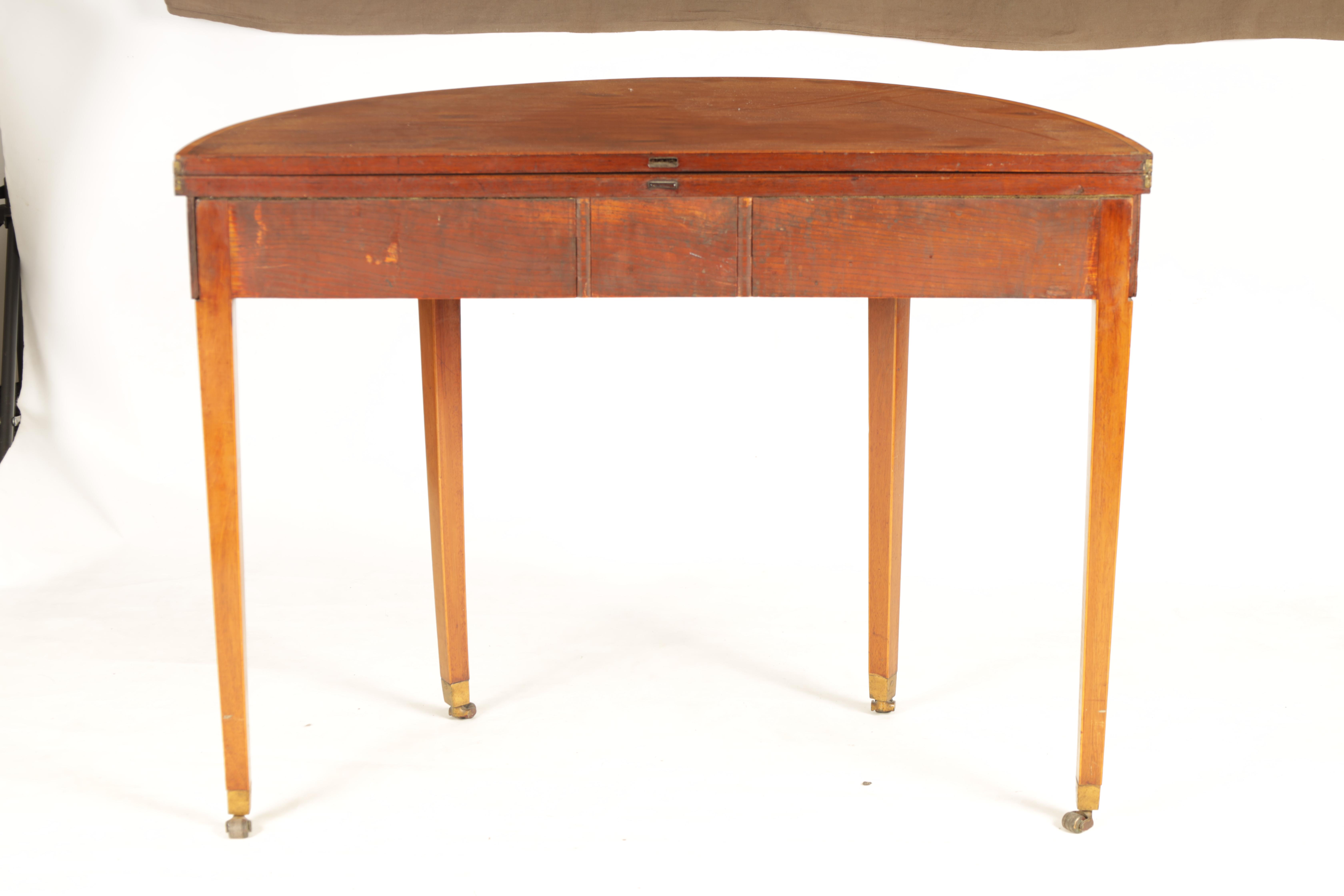 A GEORGE III FIGURED SATINWOOD D END TEA TABLE with hinged top and double gate rear legs; standing - Image 8 of 8