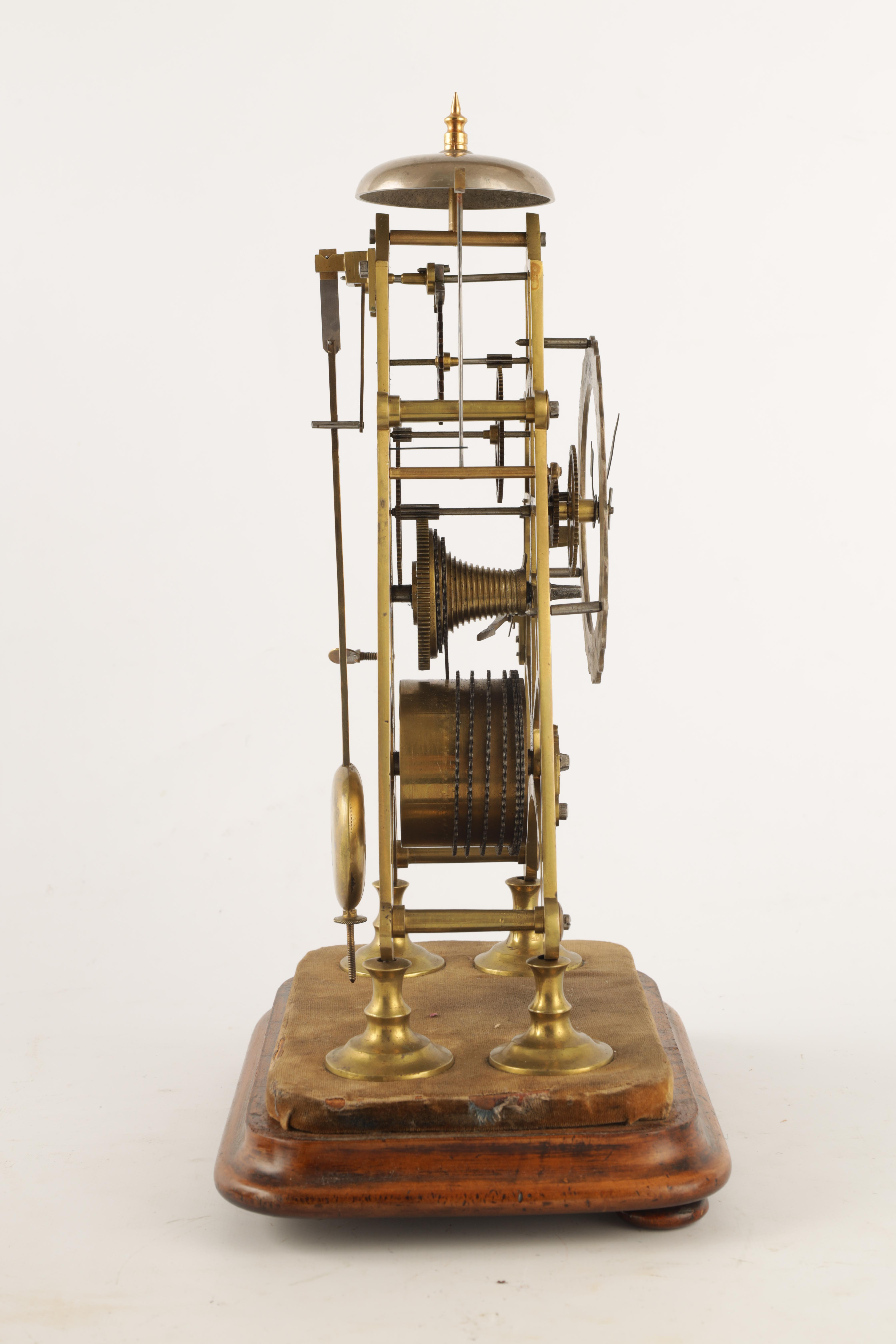 A 19TH CENTURY 8-DAY FUSEE TIMEPIECE SKELETON CLOCK with passing hour bell strike, tapering plates - Image 4 of 6