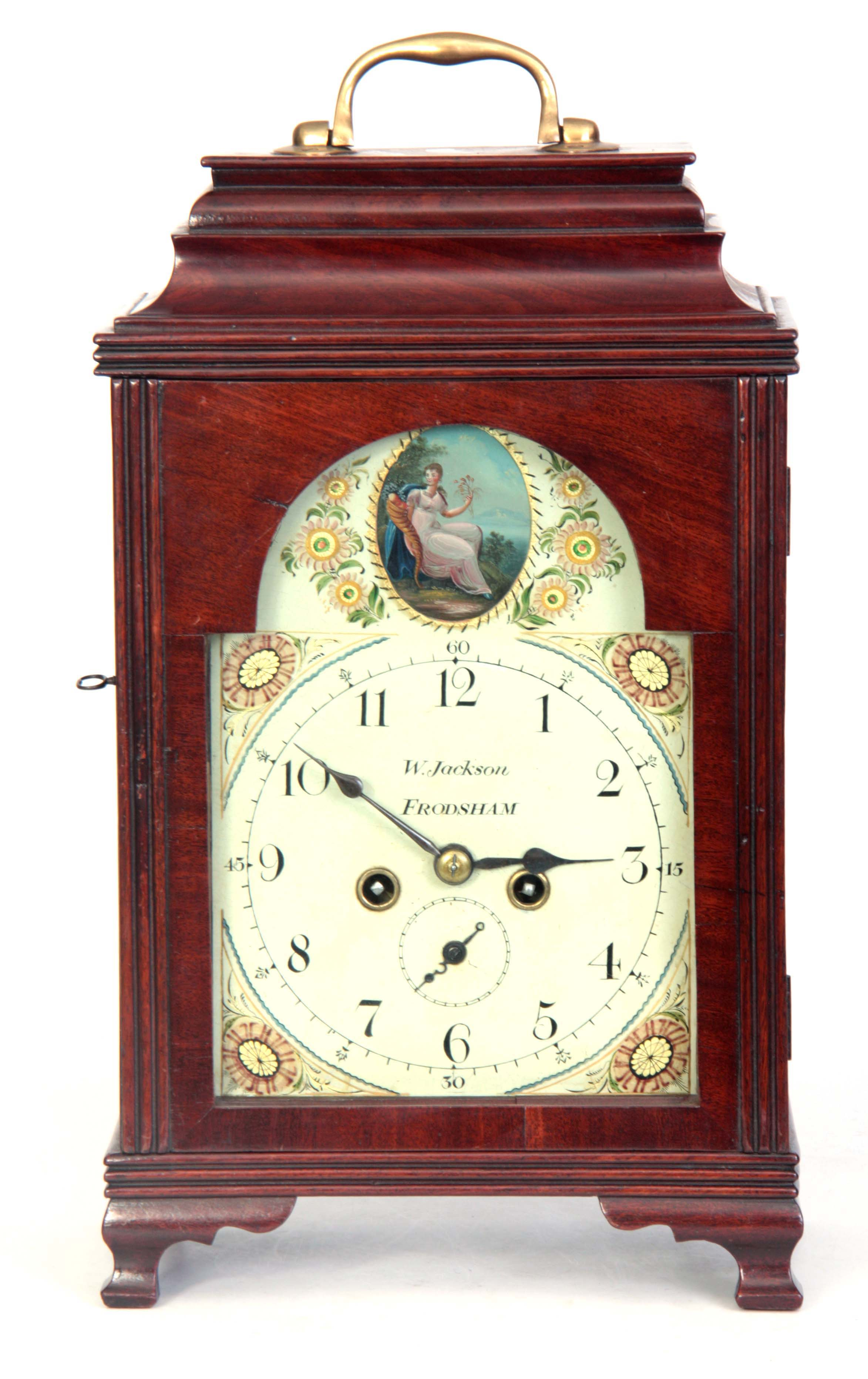 WILLIAM JACKSON, FRODSHAM A GEORGE III PAINTED DIAL MAHOGANY BRACKET CLOCK the case with moulded