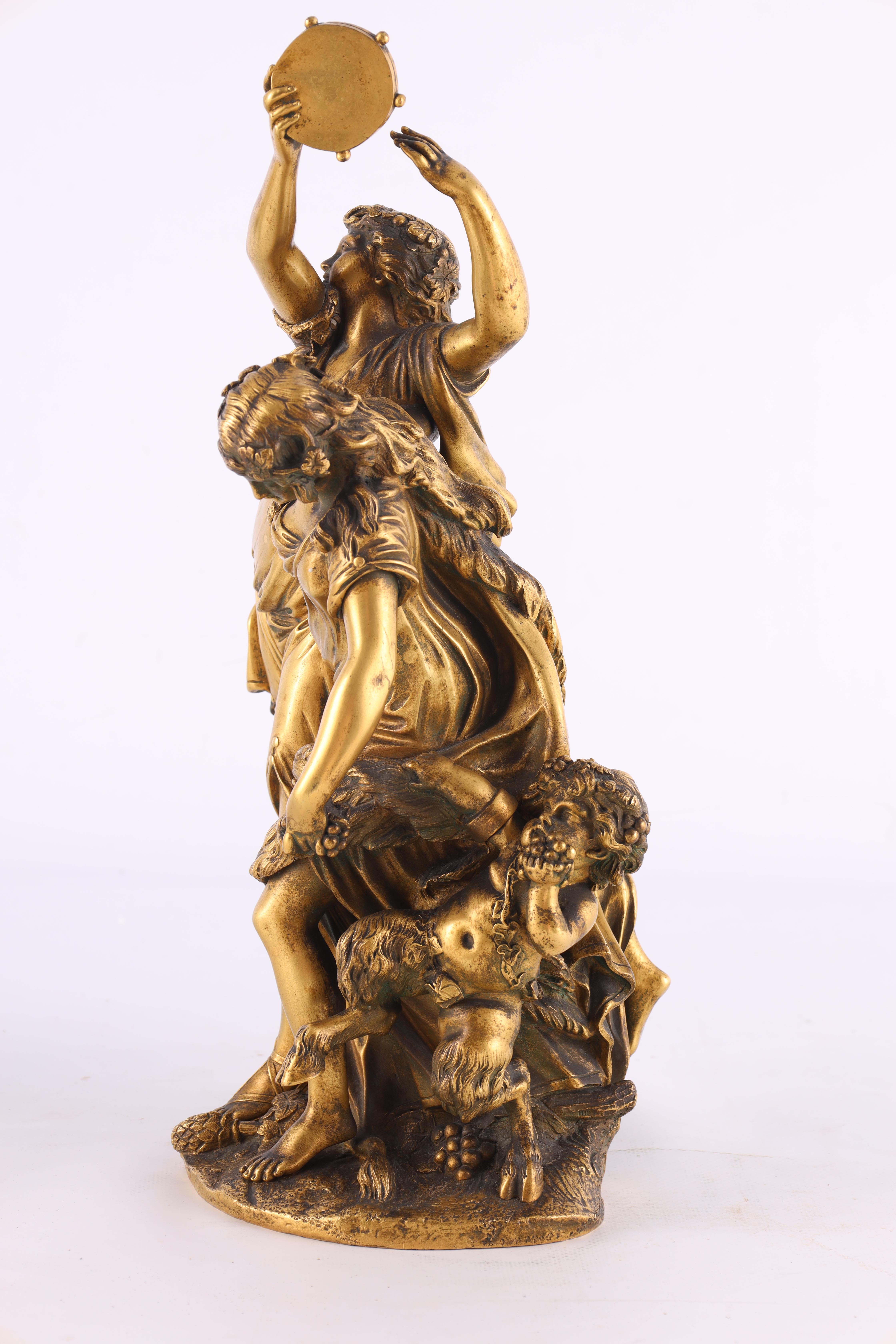 AFTER MICHAEL CLAUDE CLODION A LATE 19TH CENTURY FRENCH GILT BRONZE SCULPTURE titled 'Bacchanalia' - Image 3 of 10