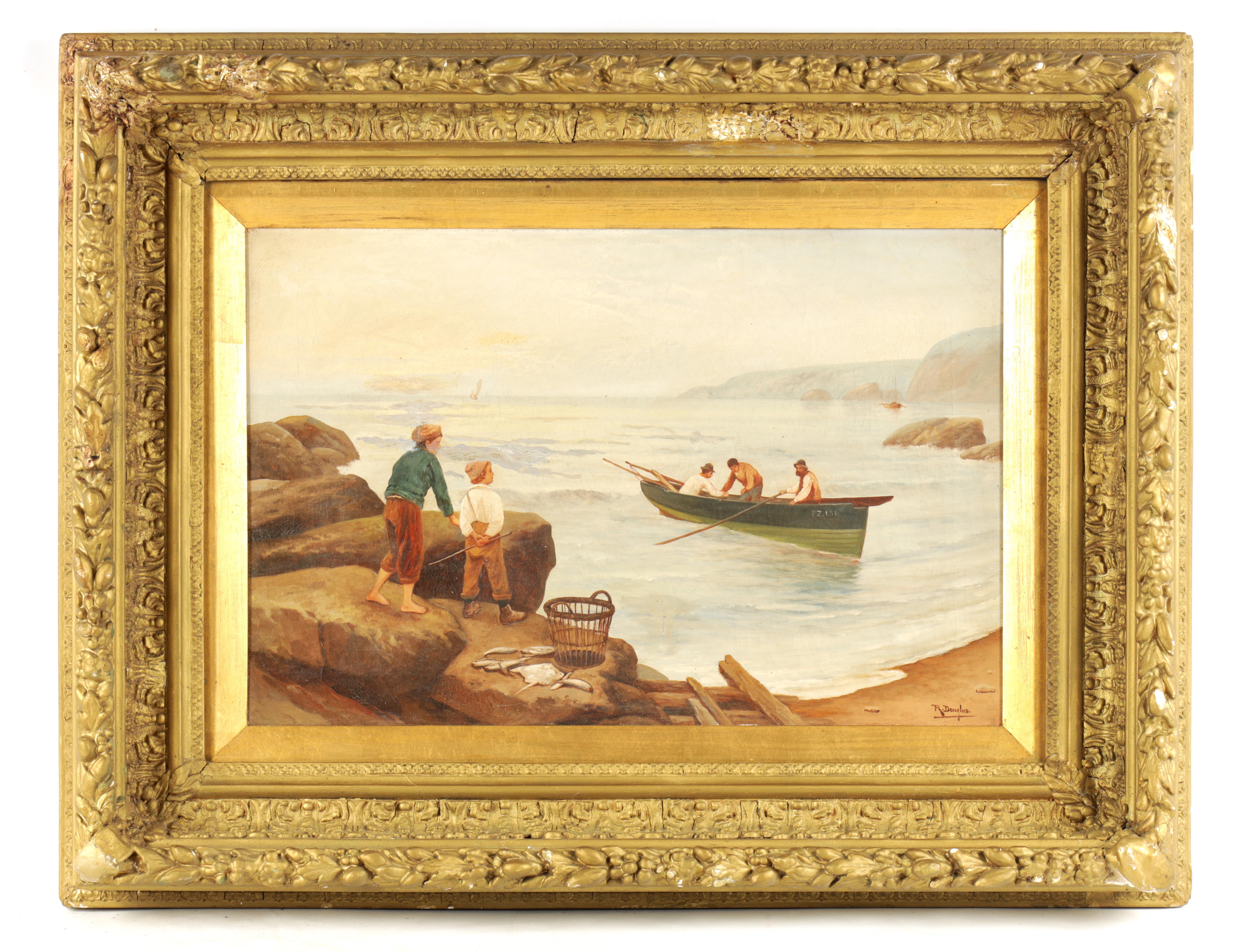 R DOUGLAS AN EARLY 20TH CENTURY OIL ON CANVAS Cornish beach with fisherman - signed 39cm high 60cm