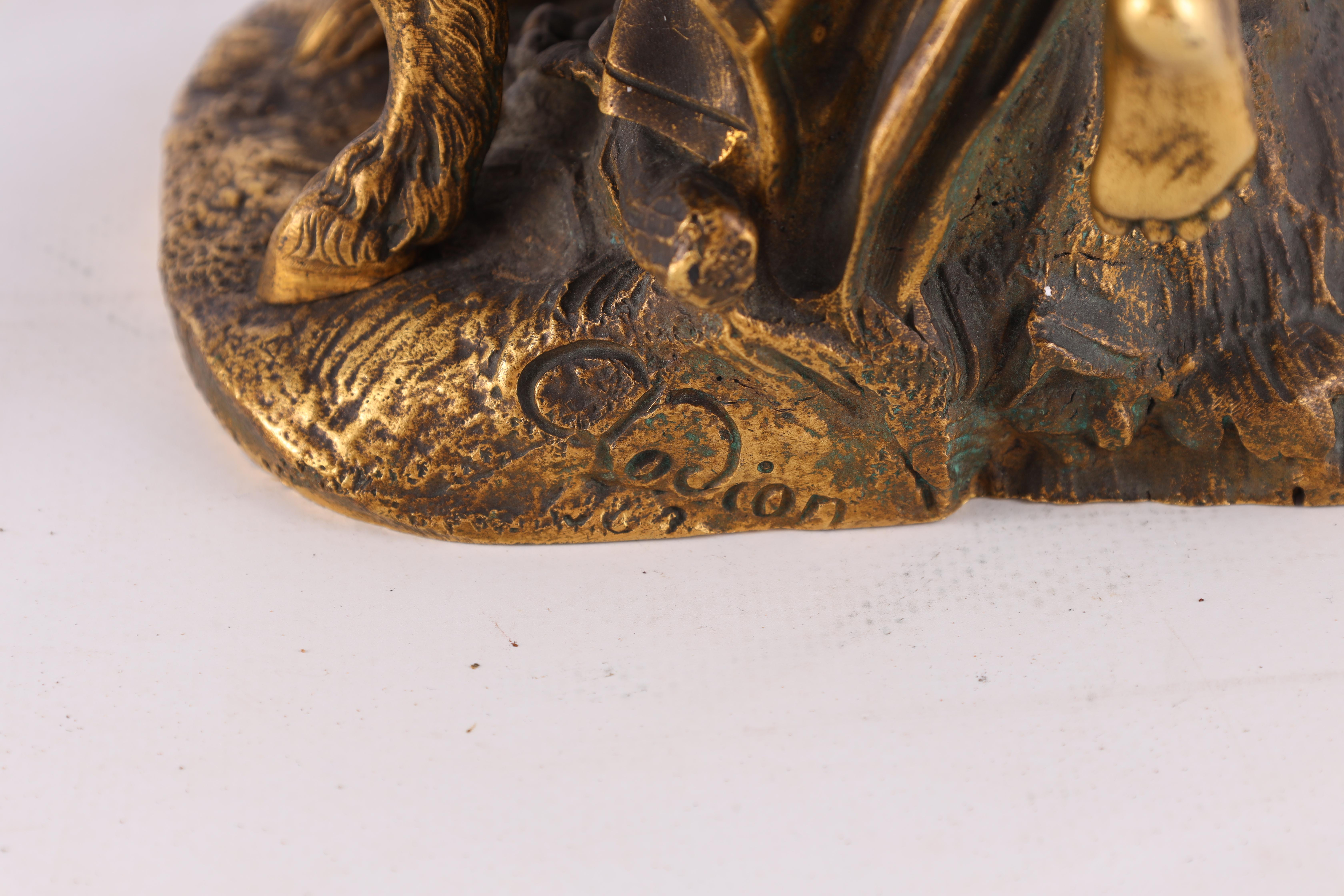 AFTER MICHAEL CLAUDE CLODION A LATE 19TH CENTURY FRENCH GILT BRONZE SCULPTURE titled 'Bacchanalia' - Image 5 of 10