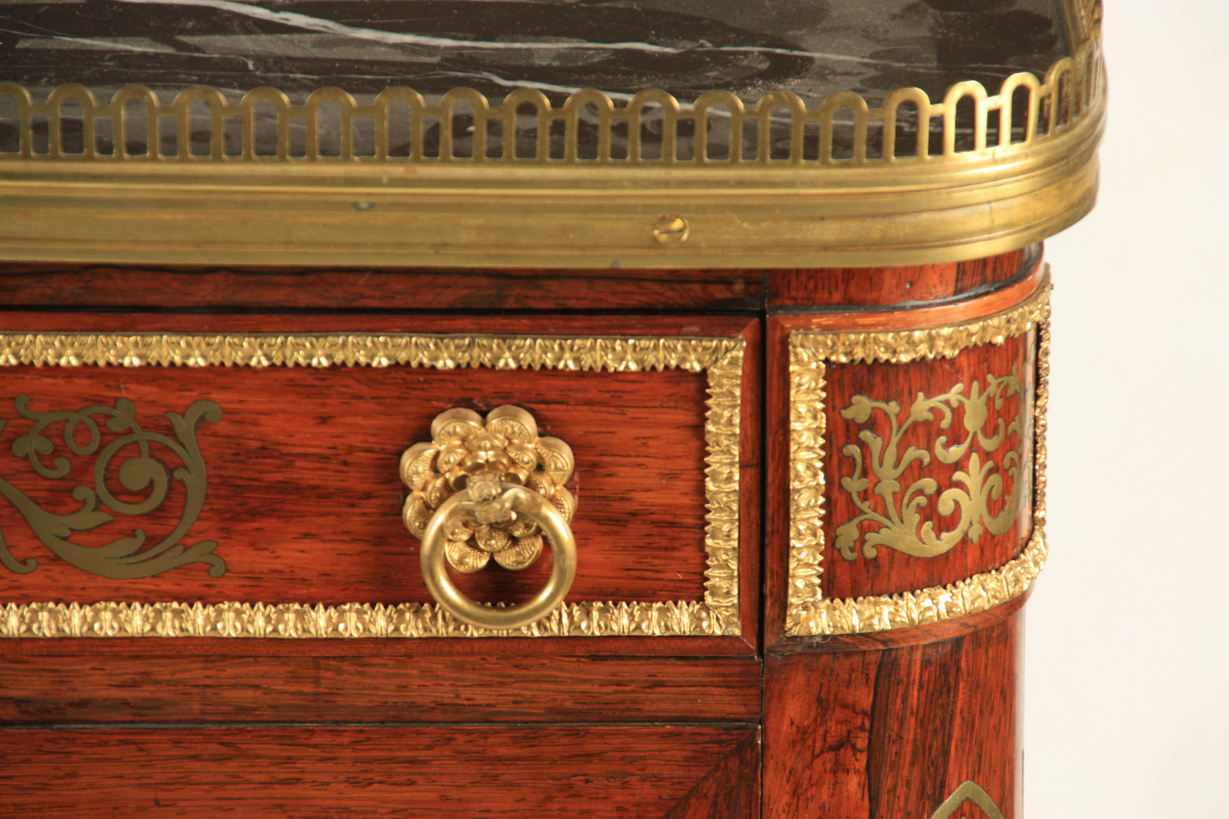 A FINE REGENCY BRASS INLAID ROSEWOOD SIDE CABINET IN THE MANNER OF JOHN MCCLEAN the brass - Image 3 of 7