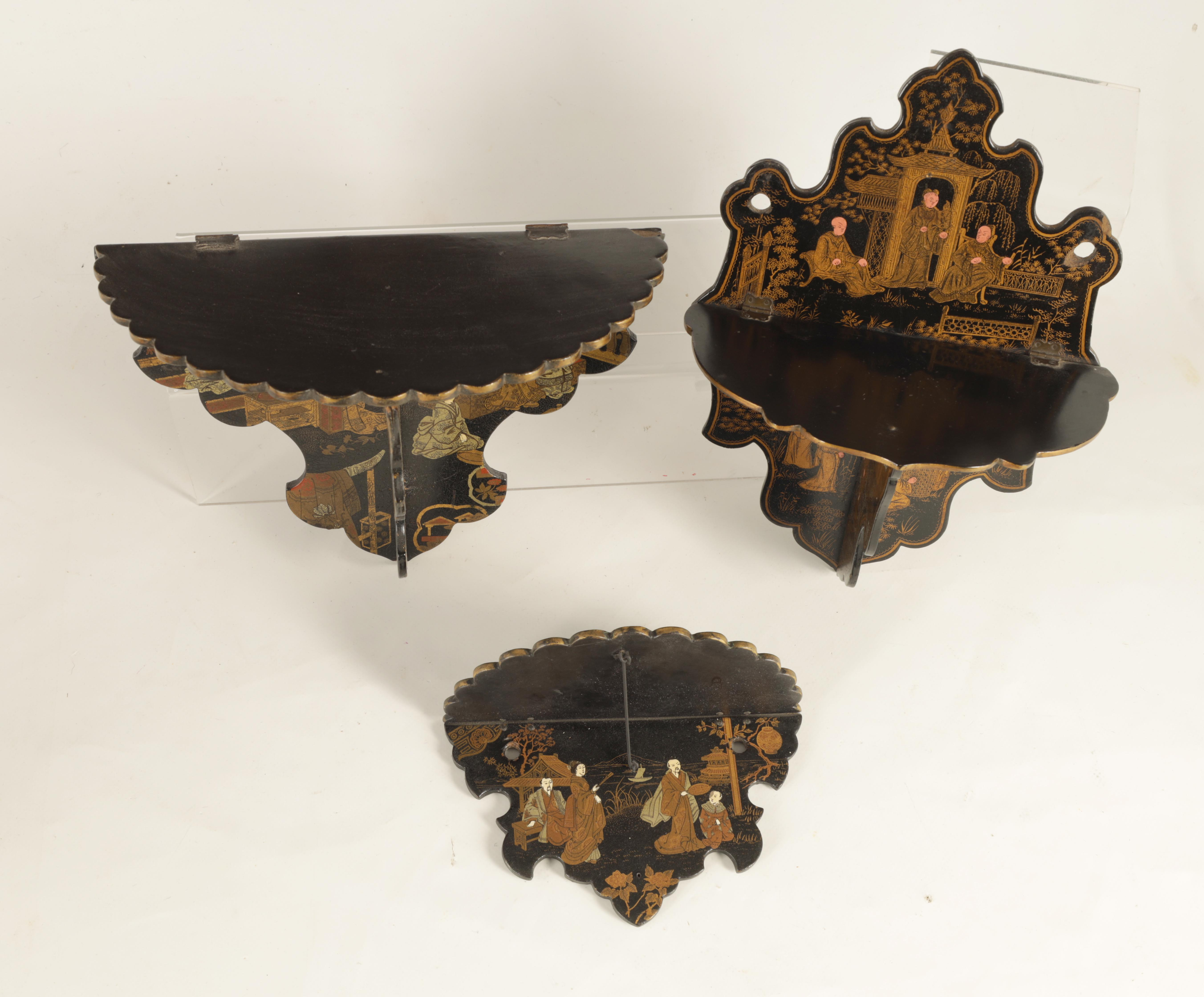 A GROUP OF THREE LATE 19TH CENTURY JAPANESE BLACK LACQUER FOLDING HANGING BRACKETS of shaped form - Image 3 of 12