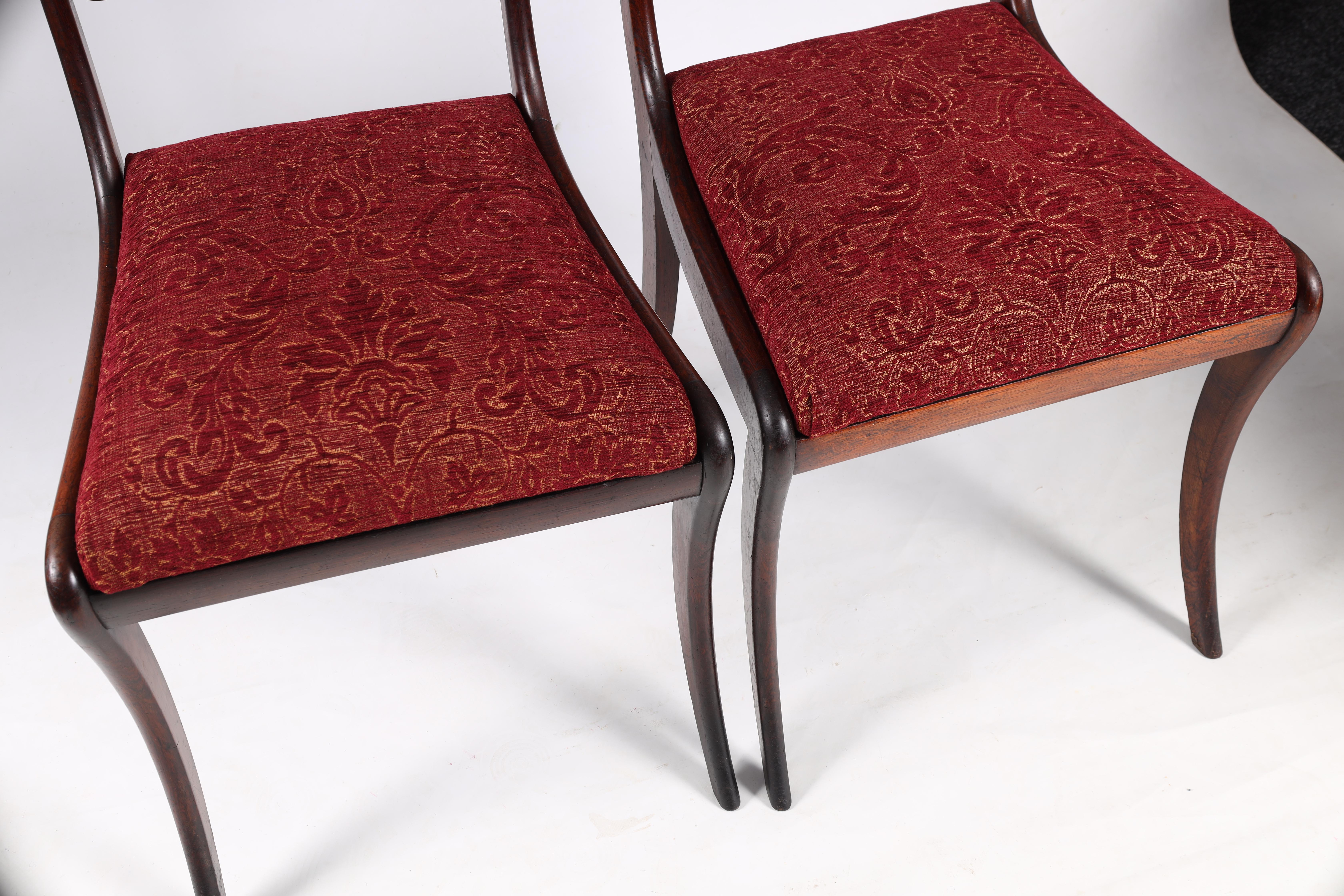 A SET OF EIGHT REGENCY ROSEWOOD DINING CHAIRS having gadrooned back splats and carved stretchers, - Image 3 of 8