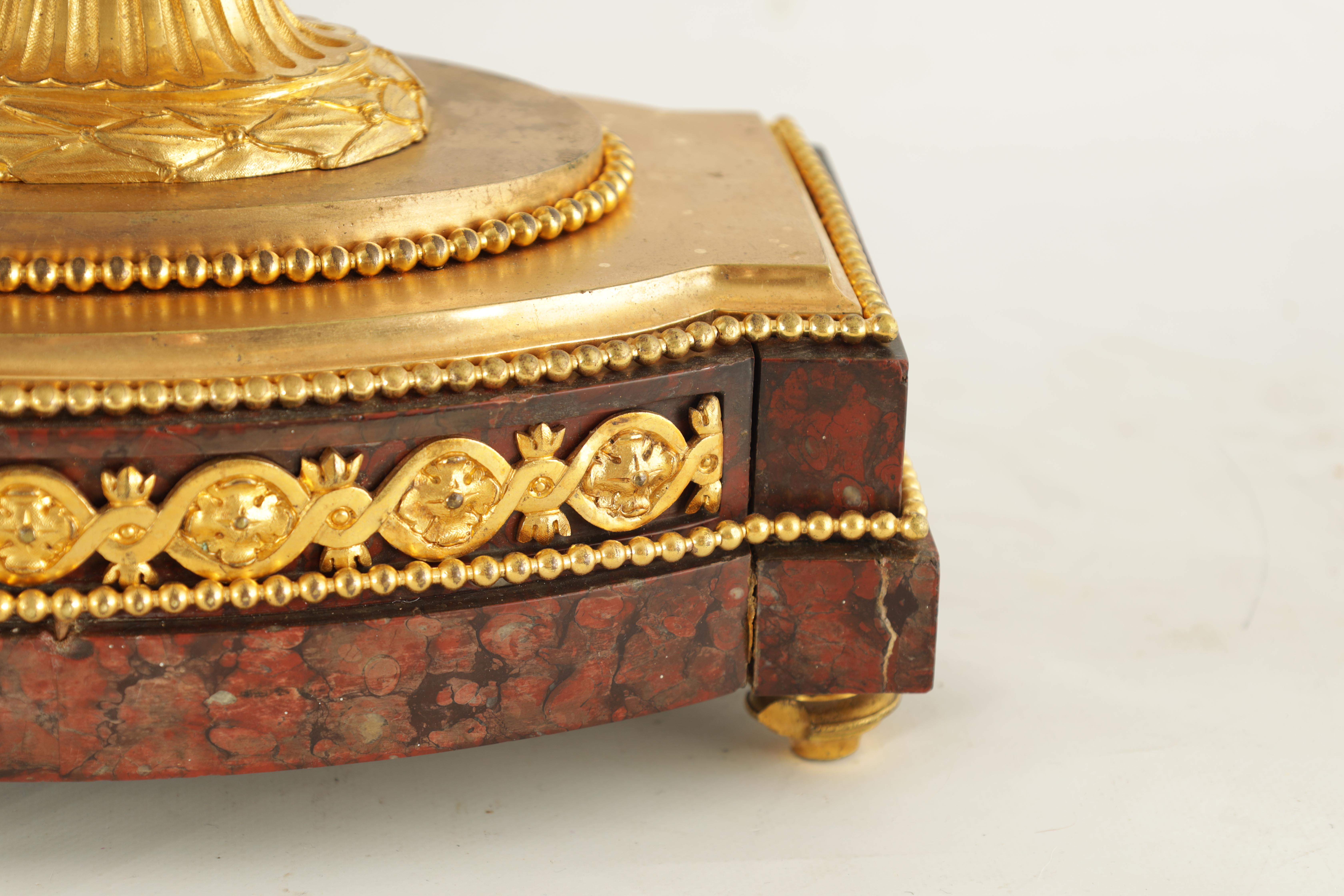 GASTON JOLY, A PARIS AN IMPRESSIVE EARLY 19TH CENTURY FRENCH ORMOLU AND ROUGE MARBLE URN SHAPED - Image 3 of 7